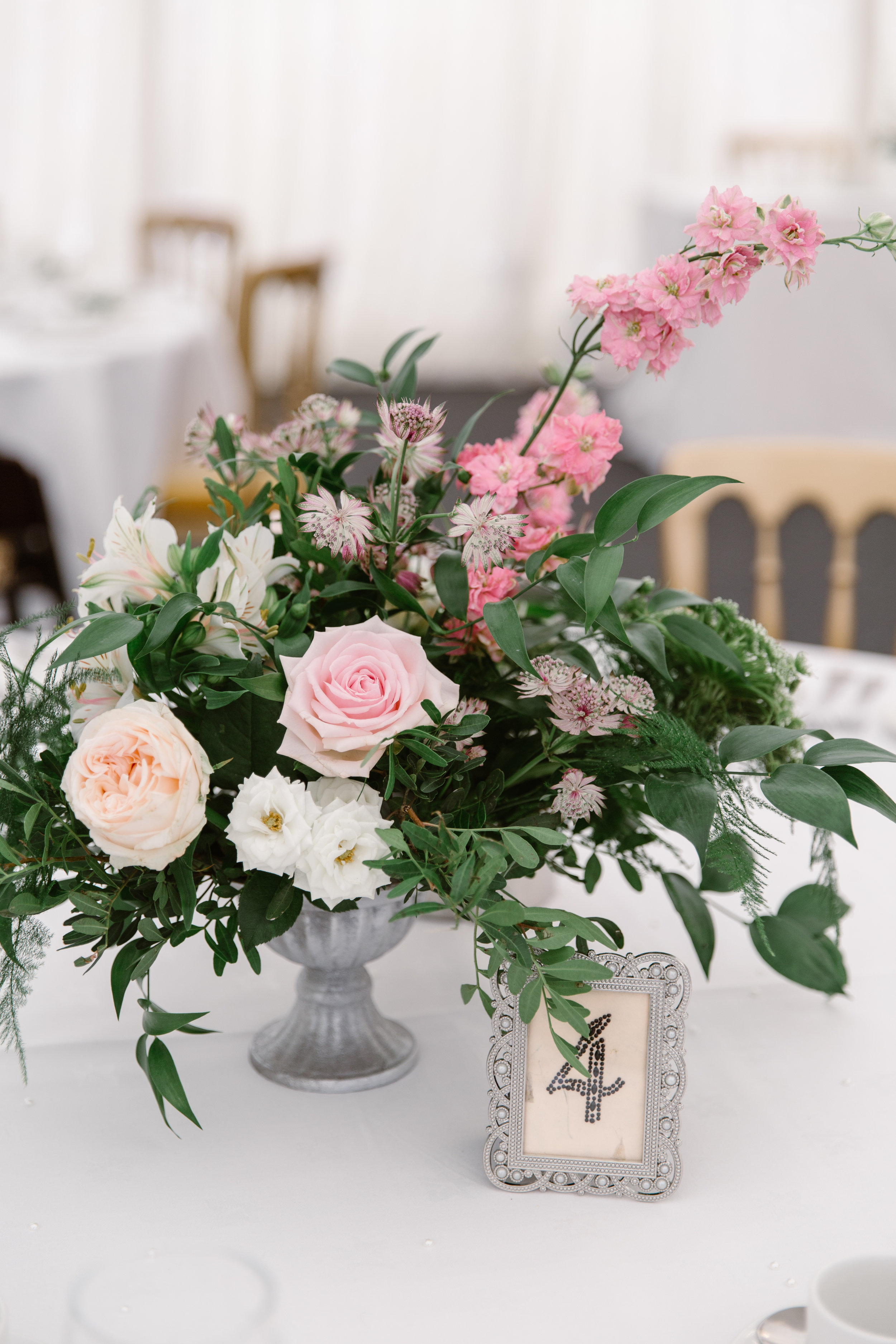 Blush table centre for Louise and Mike