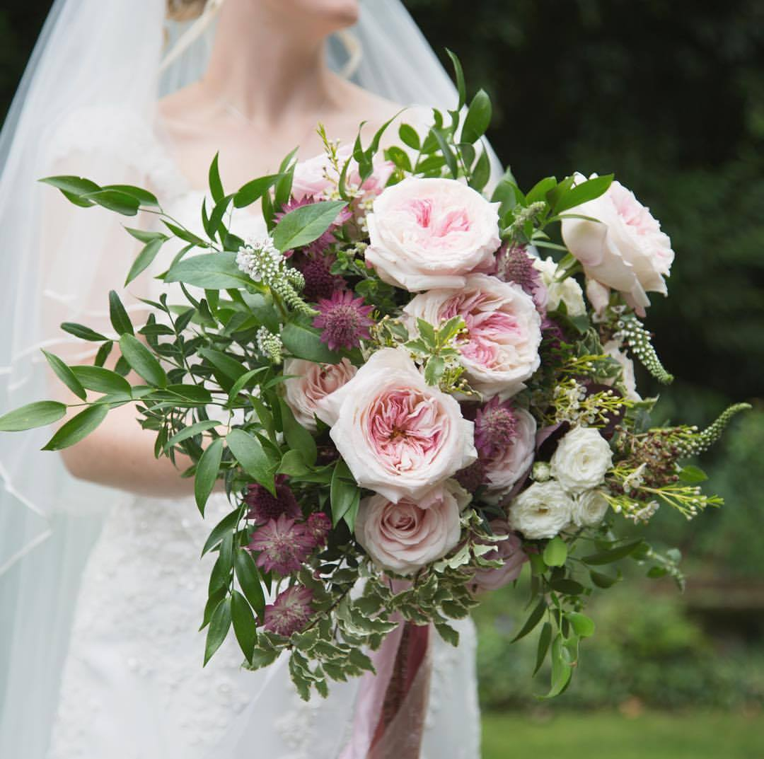 Blush garden rose wedding bouquet