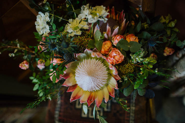 King Protea and garden rose blush wedding bouquet by The Flower Story