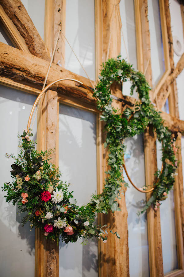 Hanging floral hoops at South Farm by The Flower Story