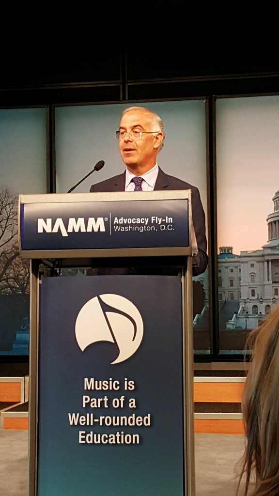 David Brooks spoke at the NAMM Fly-In Advocacy Fly-In at the Newseum. He was inspiring and amazing.
