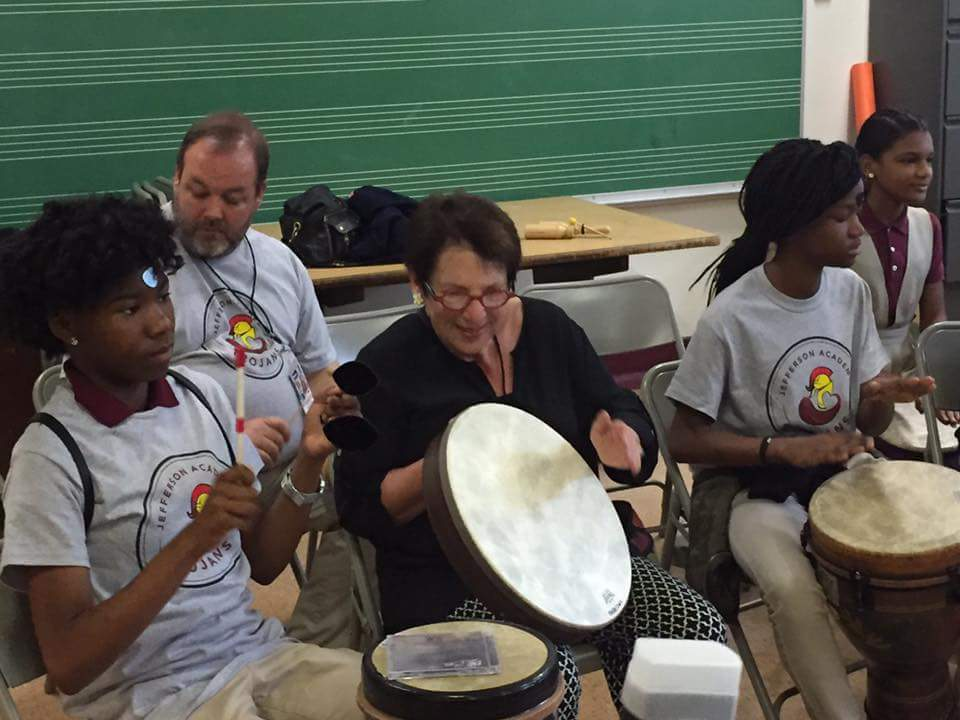 Drum circle at Jefferson Academy in SW as part of NAMM Fly-In Day of Service.