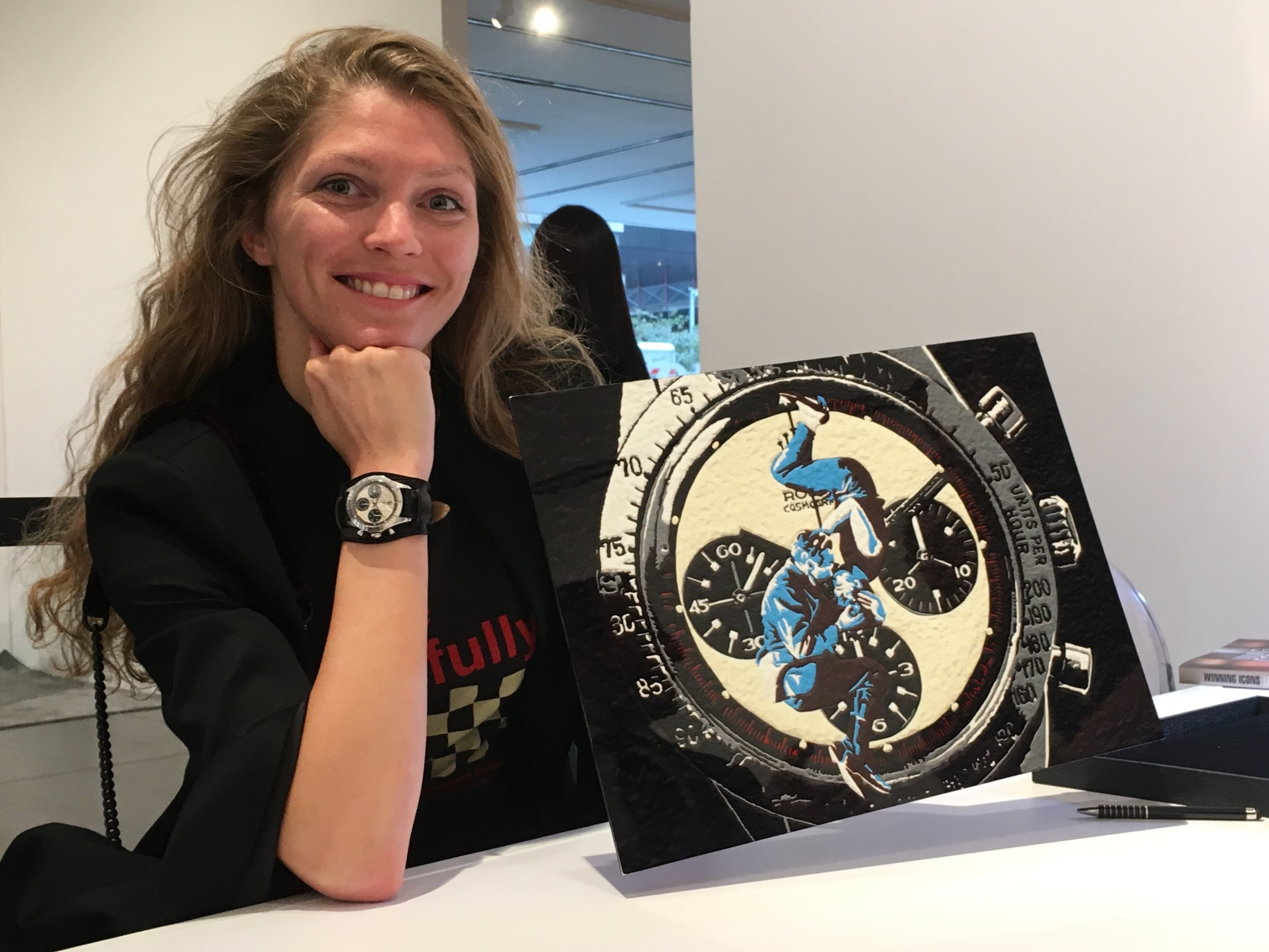 "Me on the night of the  Auction  at Phillips Auction House, holding a metal print of ""The Gift,"" wearing THE Watch!! Photo by  Phillips Watches ."