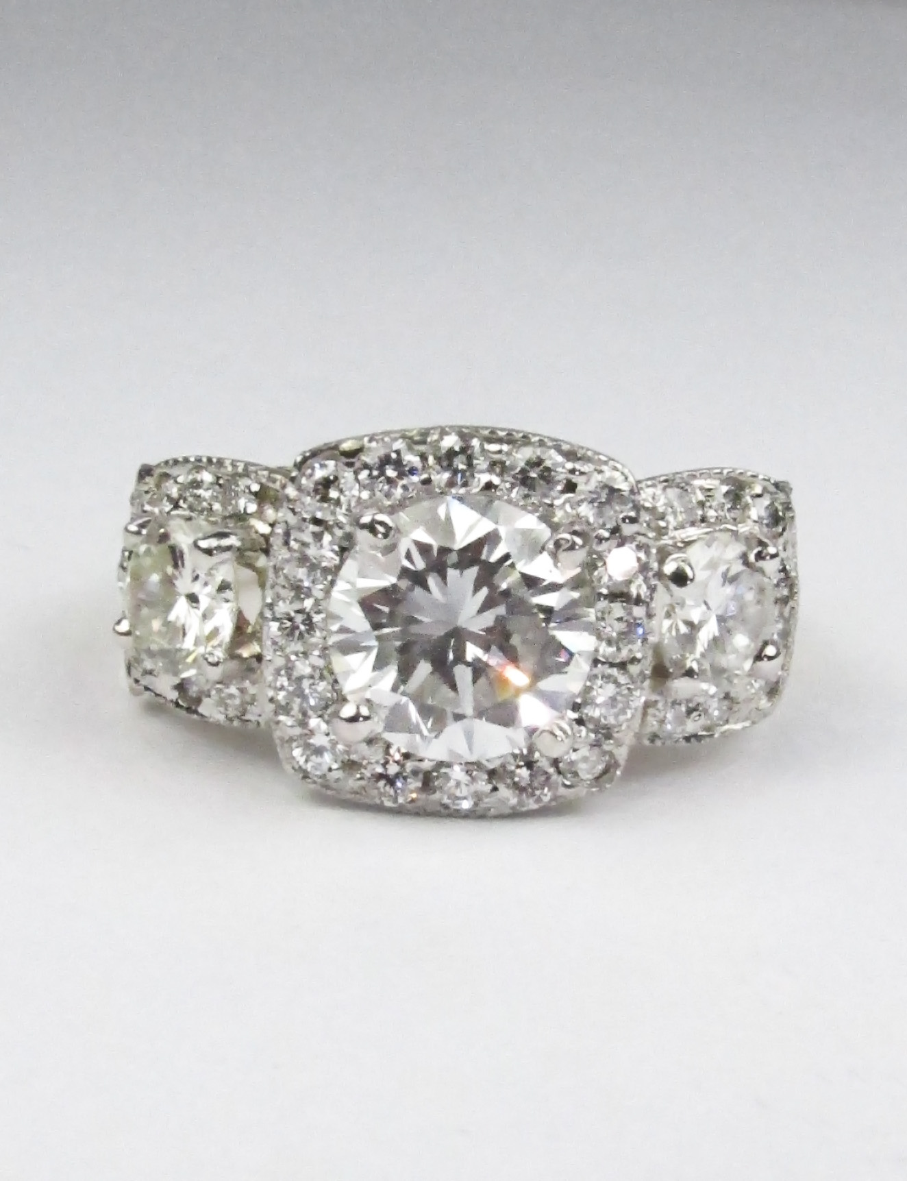 3 Stone Engagement Ring with Halos