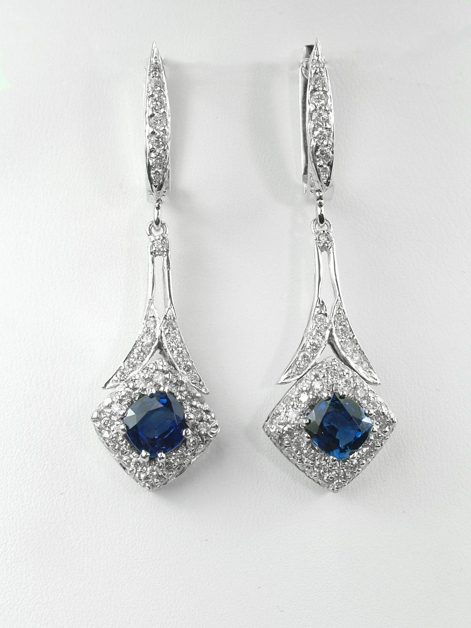 Art Deco Inspired Sapphire & Diamond Dangles