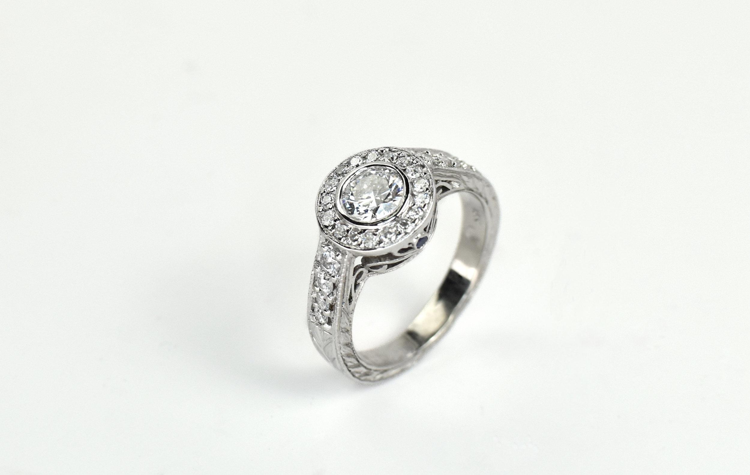 Bezel Set Engagement Ring with Halo