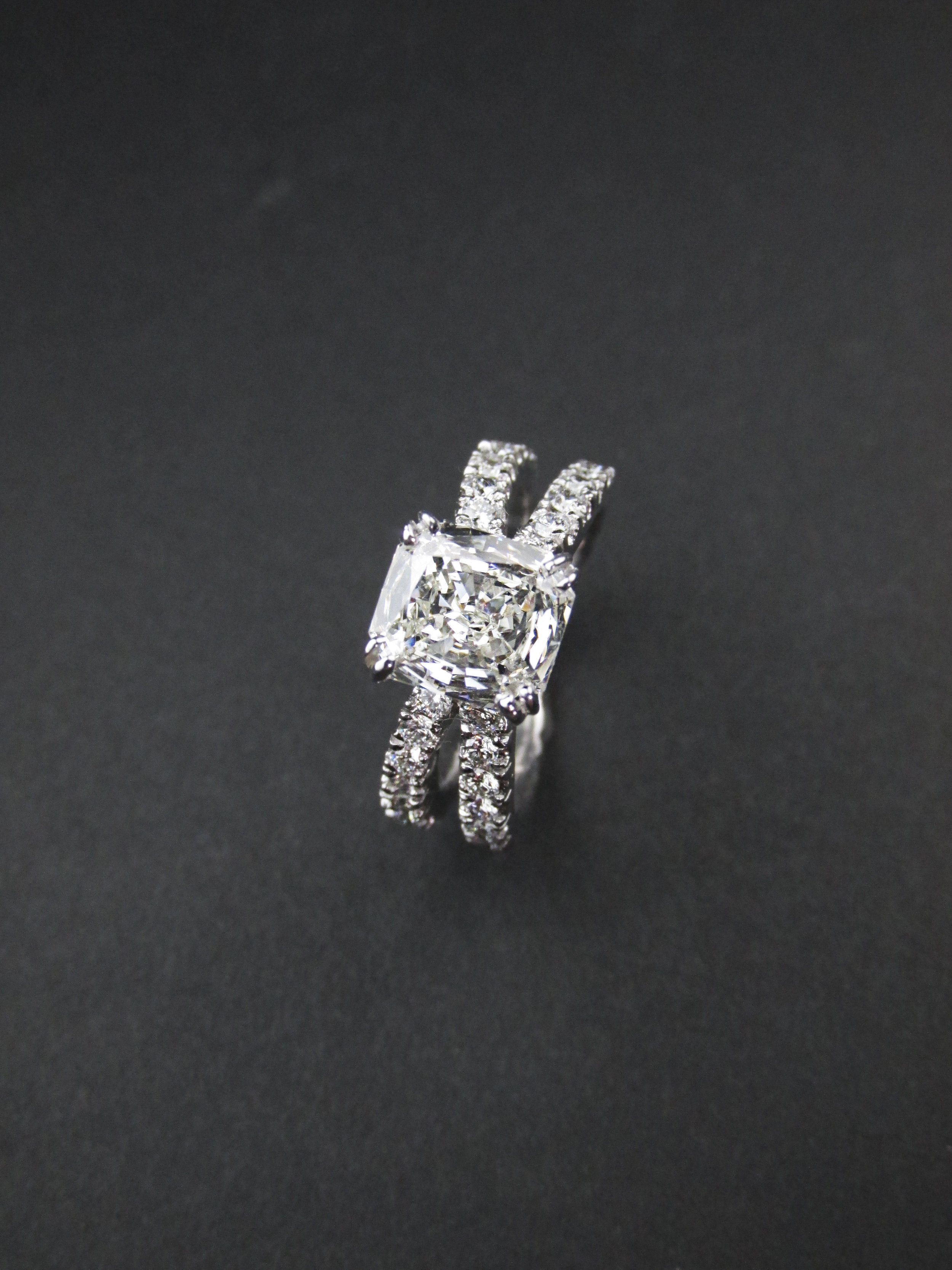 Criss Cross Engagement Ring with Radiant Diamond