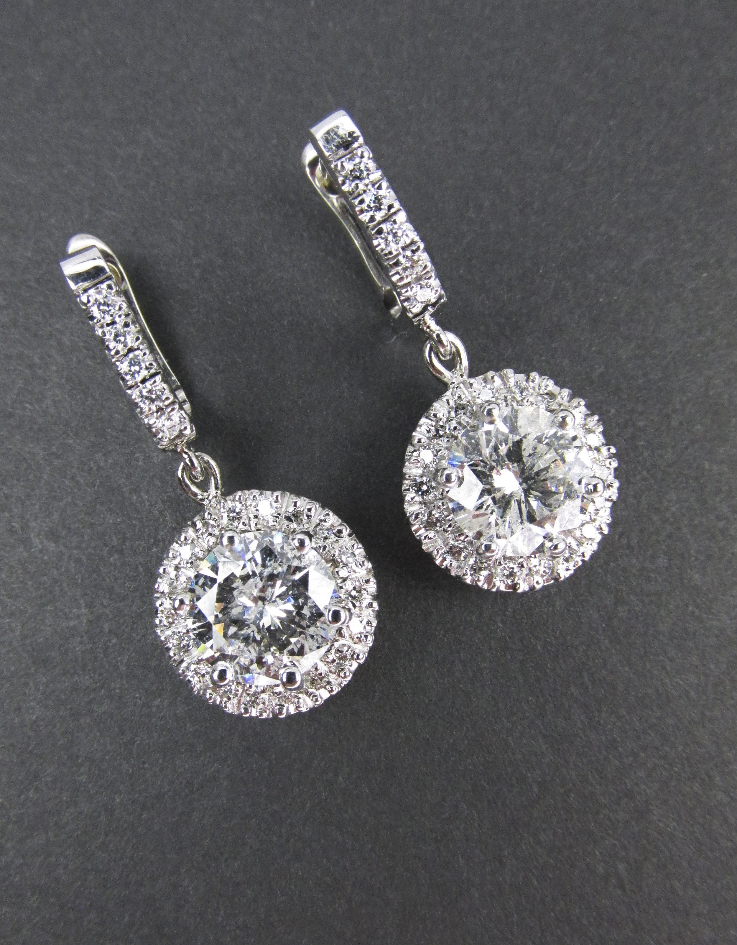 Dangle Diamond Earrings with Halos