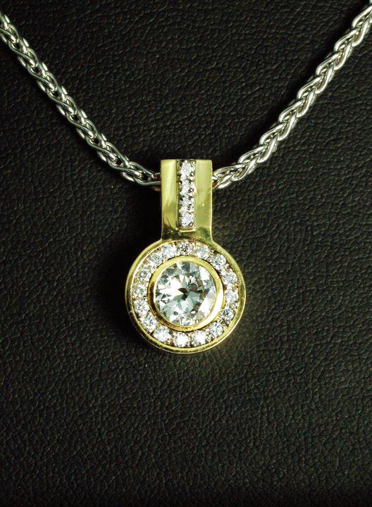 Unique Diamond Pendant with Halo