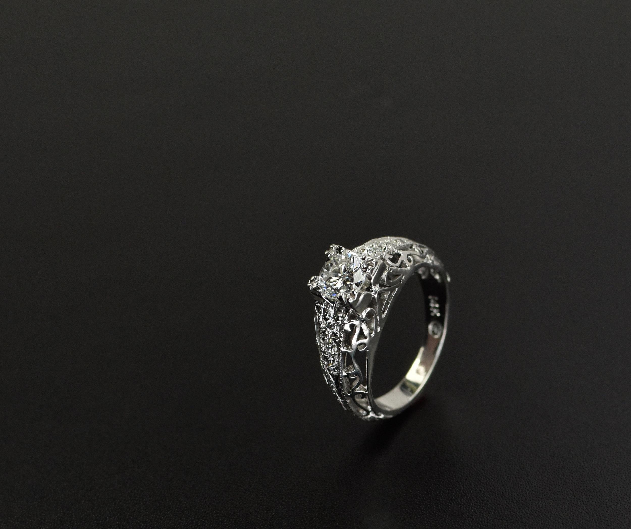 Edwardian Engagement Ring with Custom Filigree