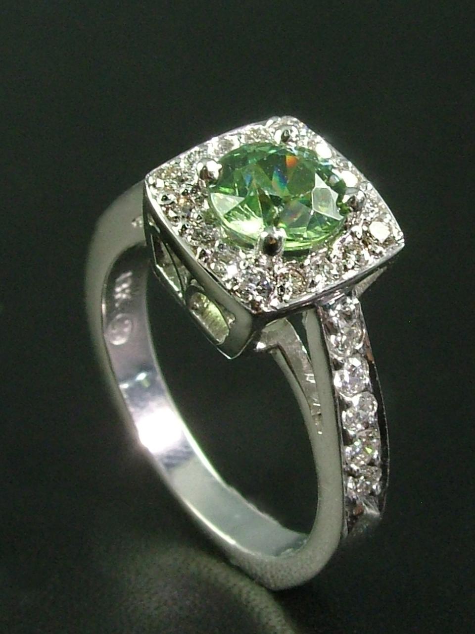 Demantoid Garnet Engagement Ring
