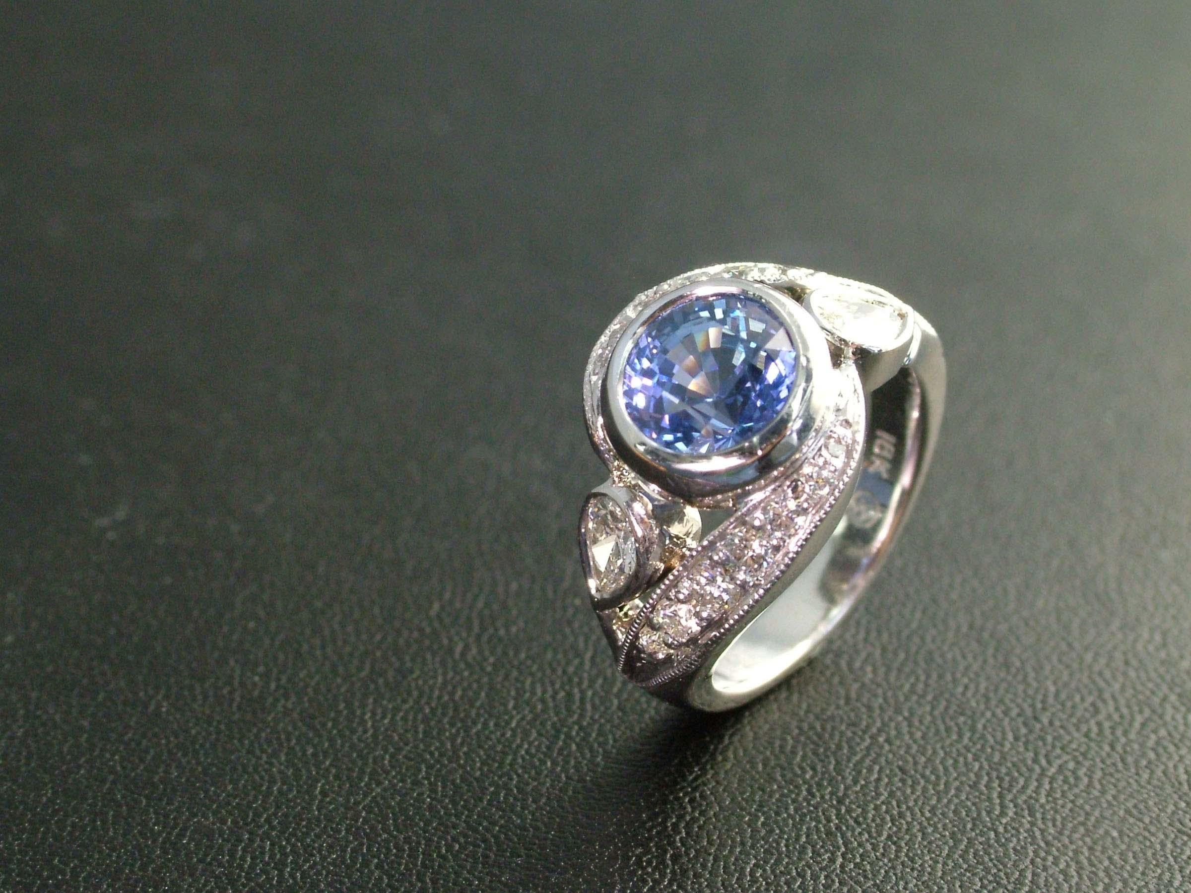 Sapphire & Diamond Twist Engagement Ring
