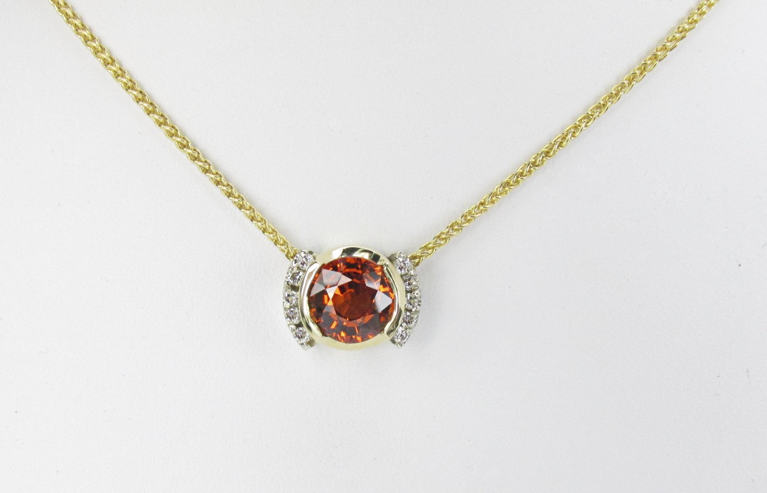 Spessertite Garnet & Diamond Slider Pendant