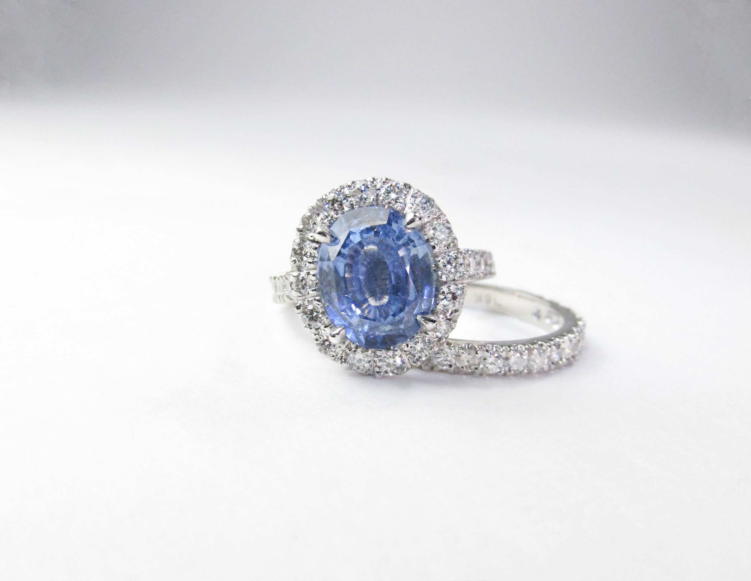 Light Blue Sapphire & Diamond Engagement Ring with Halo
