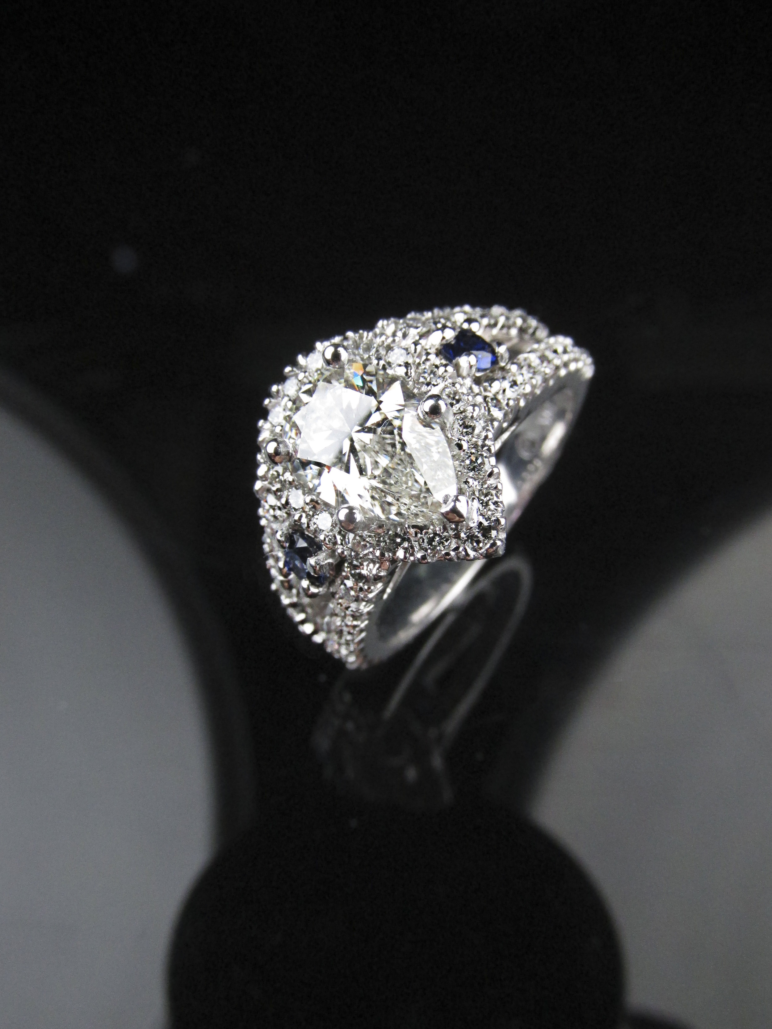 Pear Shape Engagement Ring with Sapphires