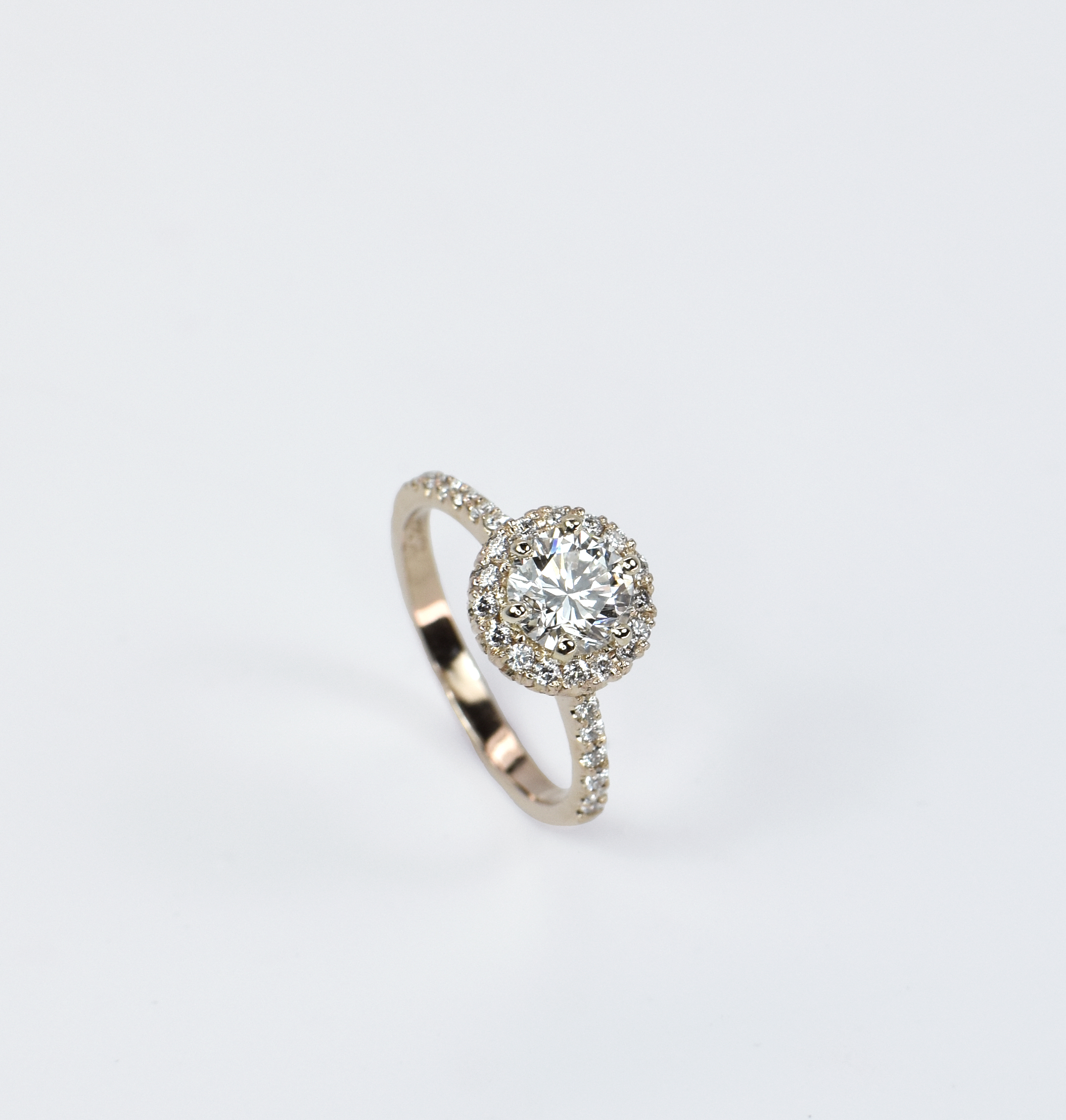 Classic Halo Engagement Ring in Rose Gold