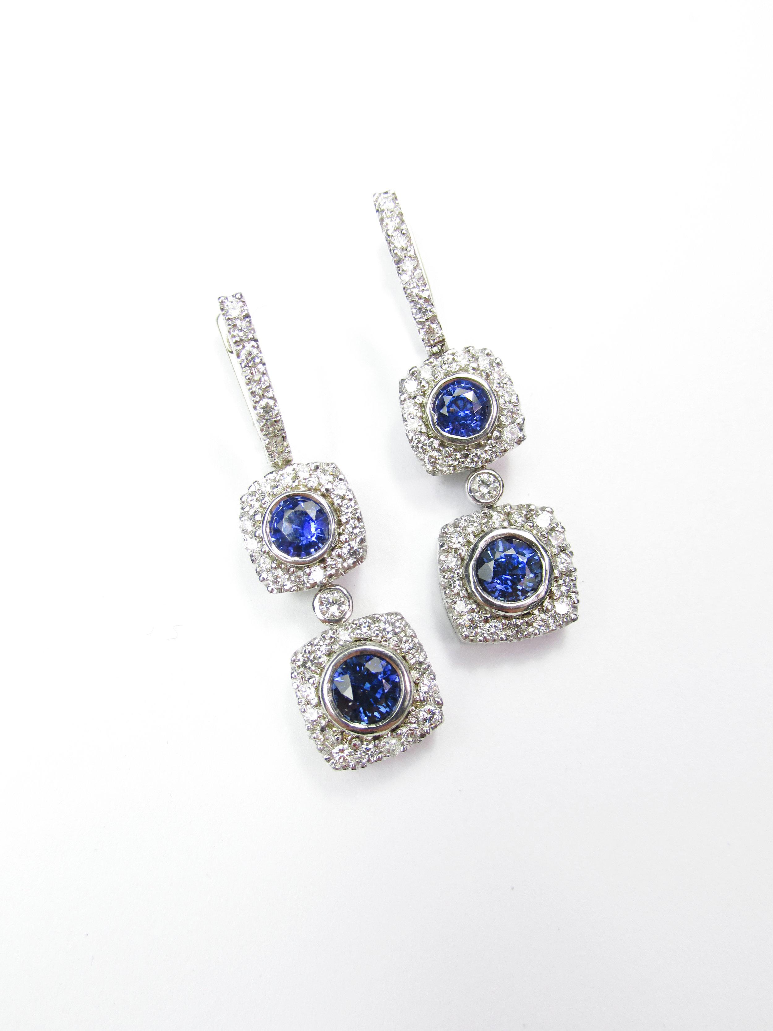 Sapphire & Diamond Dangles with Halos