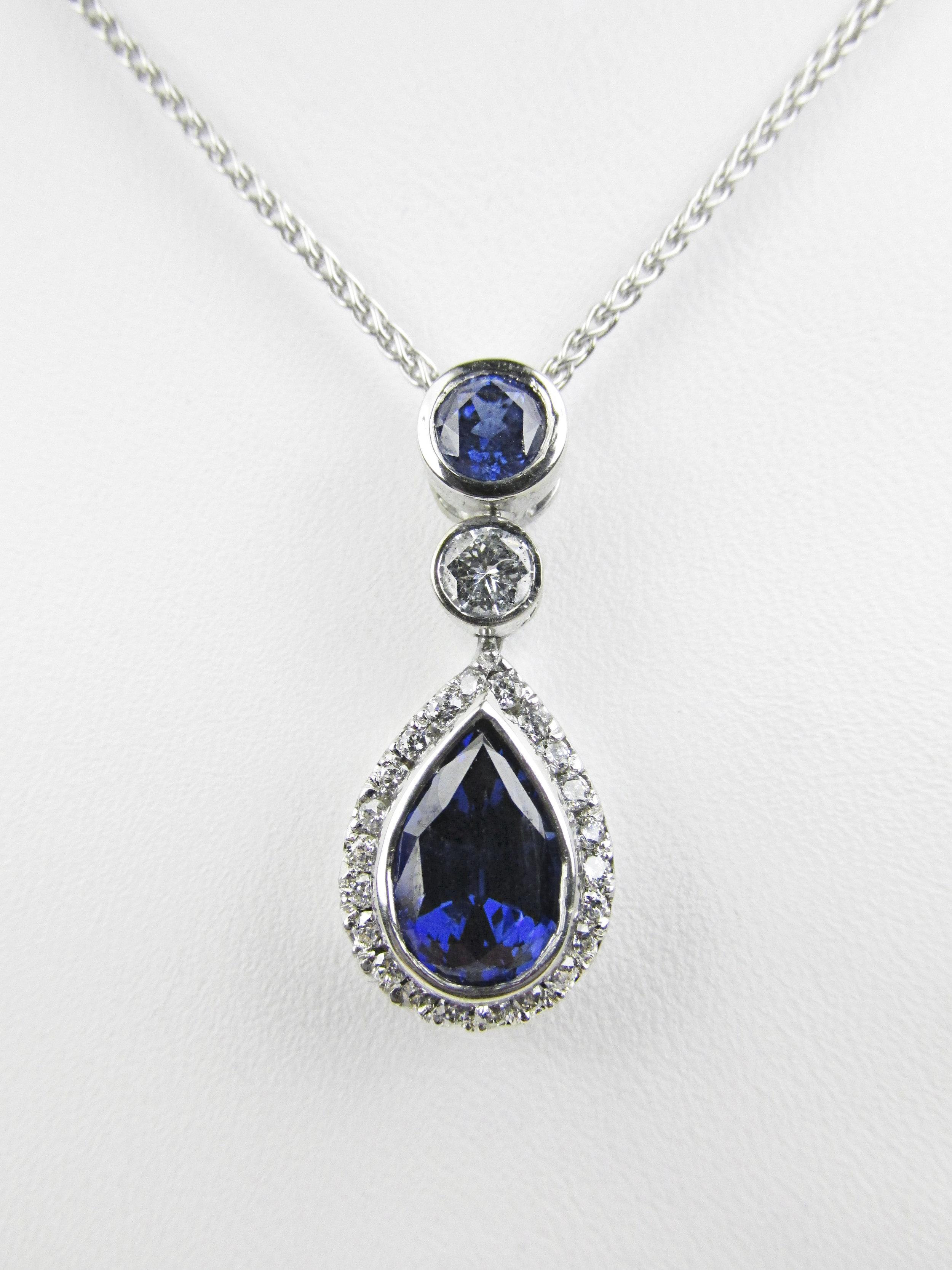 Sapphire & Diamond Pendant with Halo