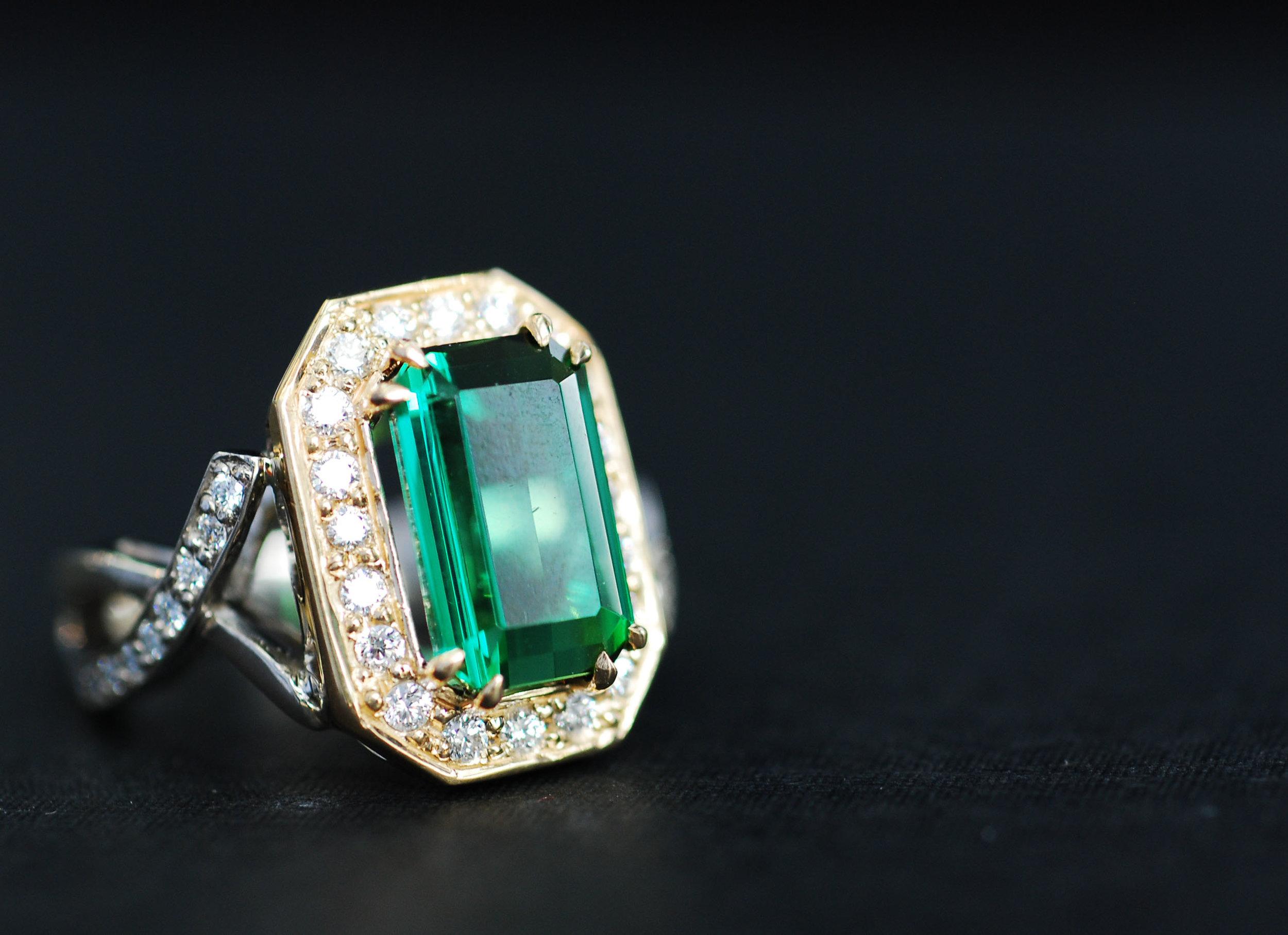 Two-Tone Green Tourmaline Ring