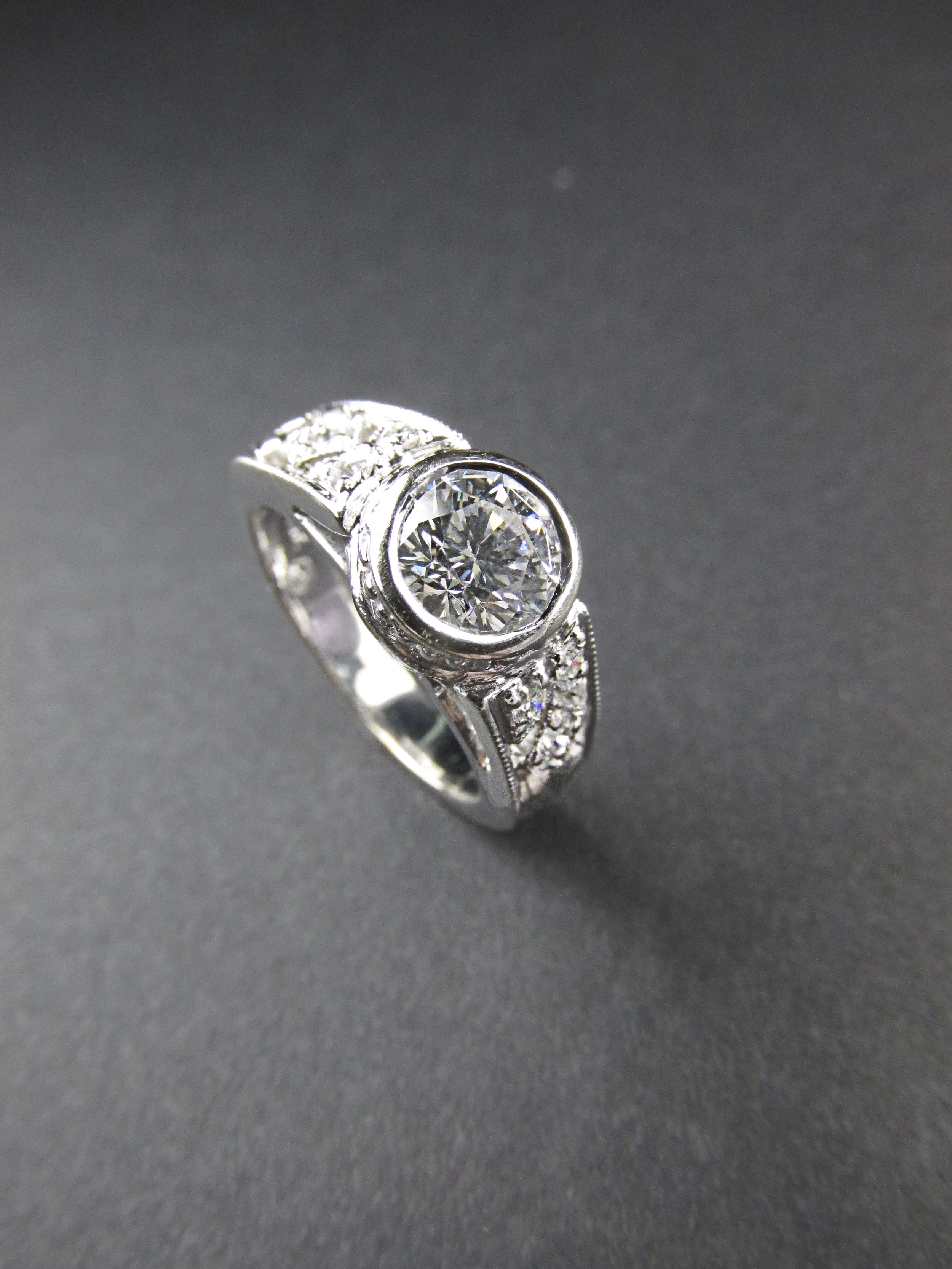 Bezel Set Engagement Ring with Engraving