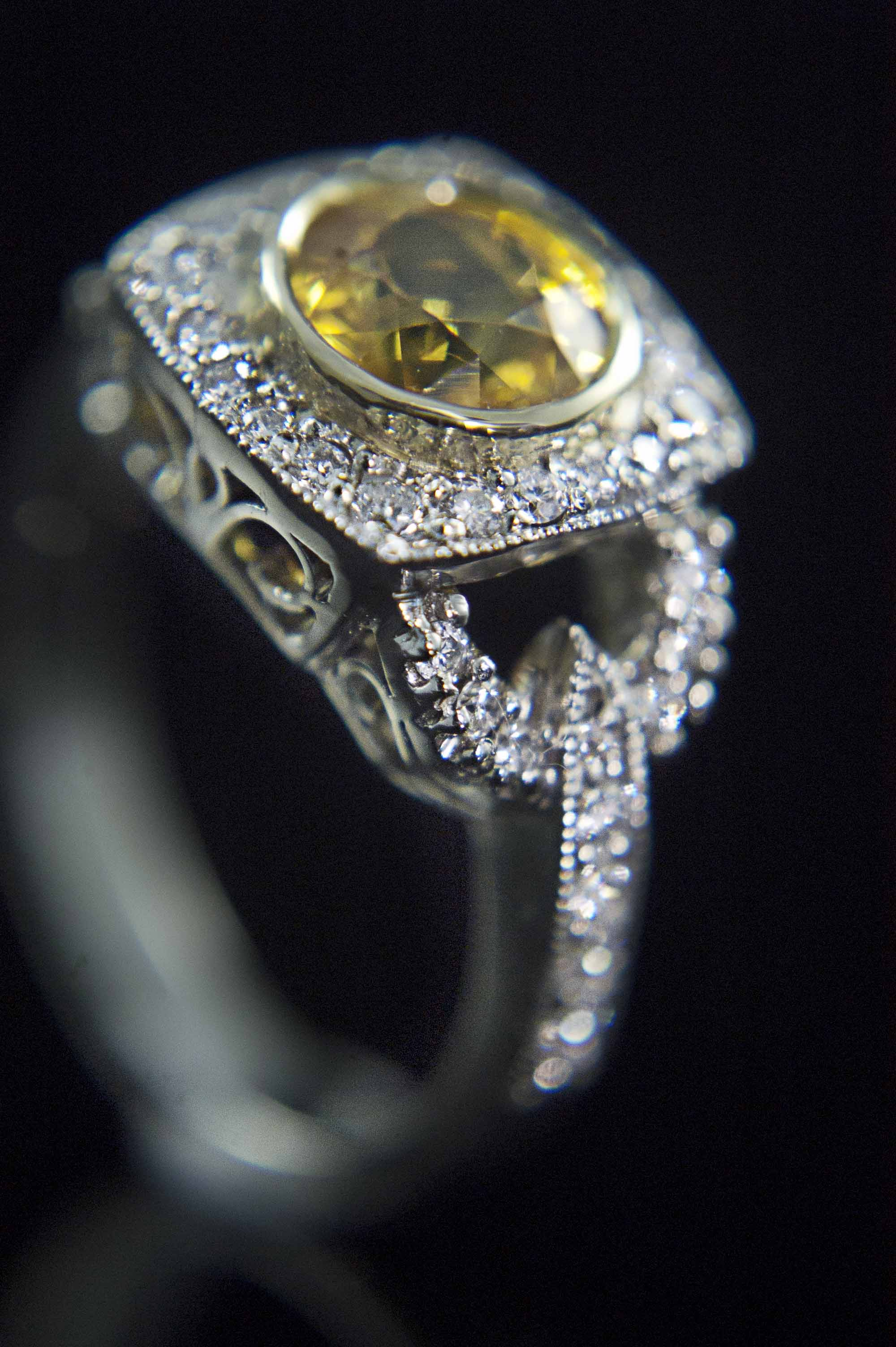 Yellow Sapphire Engagement Ring with Halo