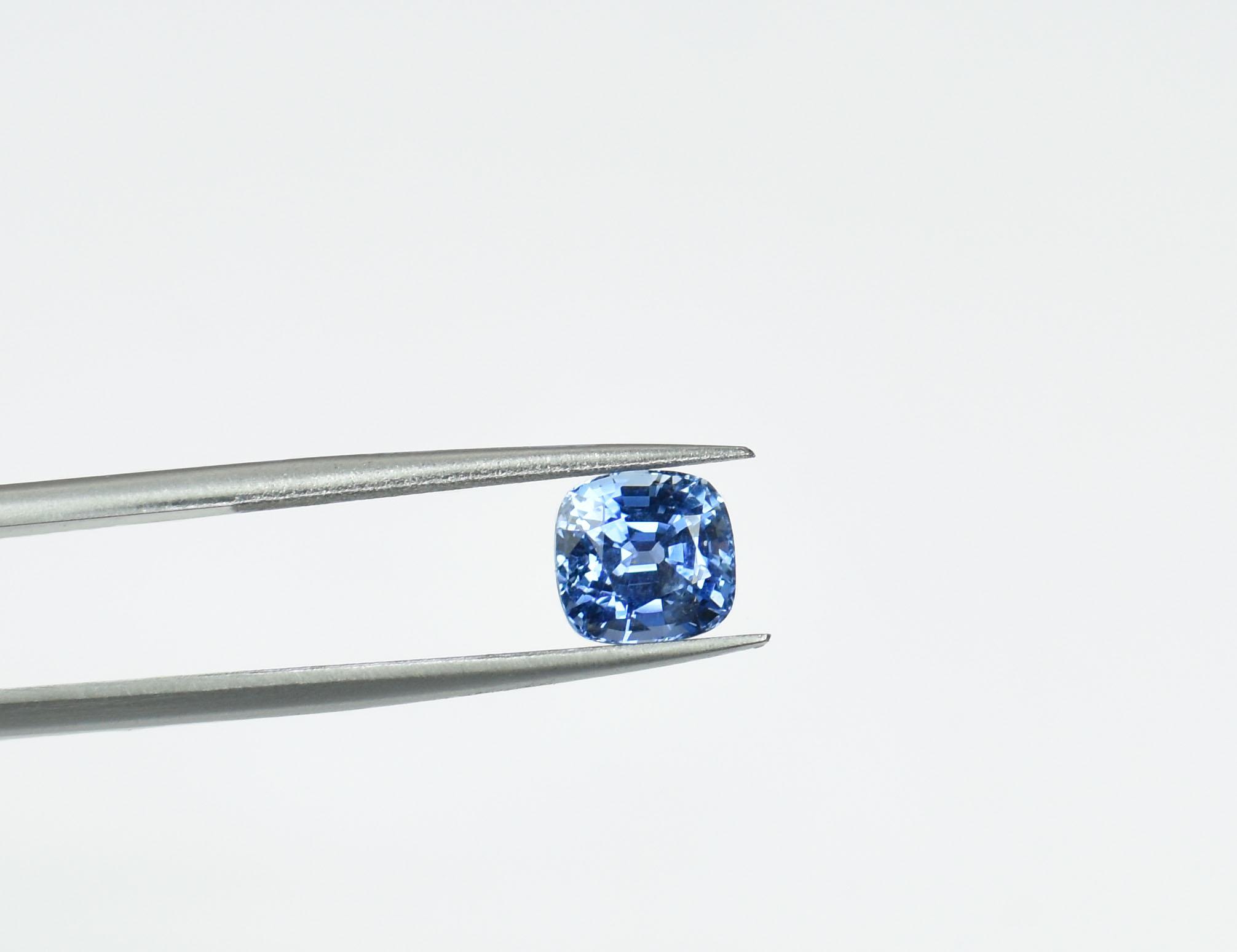 Cushion cut Cornflower Blue Sapphire. 2.14ct