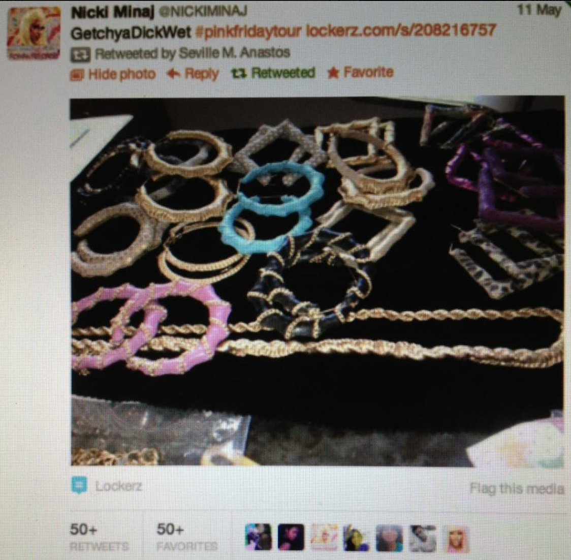 Nicki Minaj posts her Pink Friday tour accessories.