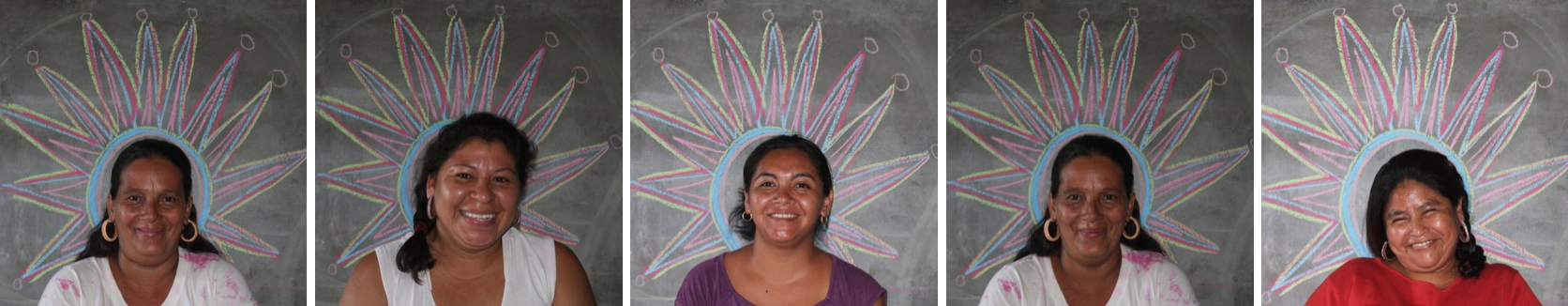 SIRENS Jewelry Lab in El Salvador explored using material found in local market to create jewelry. By re-imagining the objects available in their own communities, the women of El Rosario discovered a renewed vision for material abundant to them; and transformed all material into jewelry. The workshop concluded with picture day in front of a hand-drawn crown.