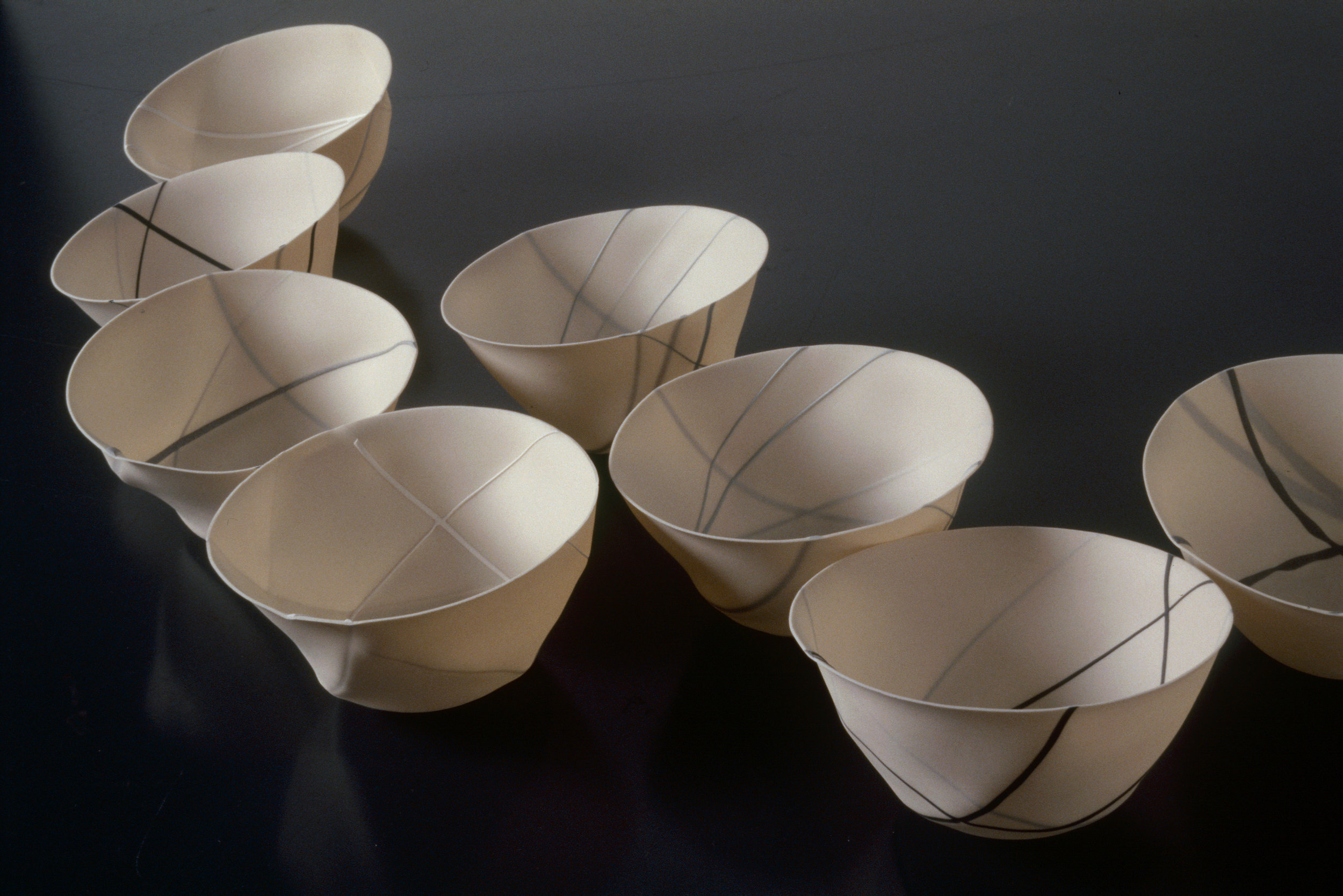 RANDOM LINE  SPUN PORCELAIN VESSELS  SMALL BONE CHINA IN - OUT  PHOTO: GRAHAM MURRELL