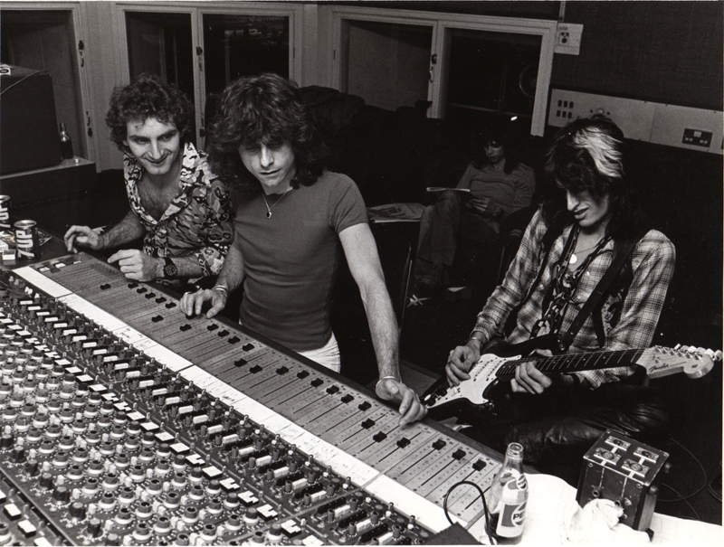 Jack Douglas, Jay Messina, Joe Perry and Steven Tyler (in the back)