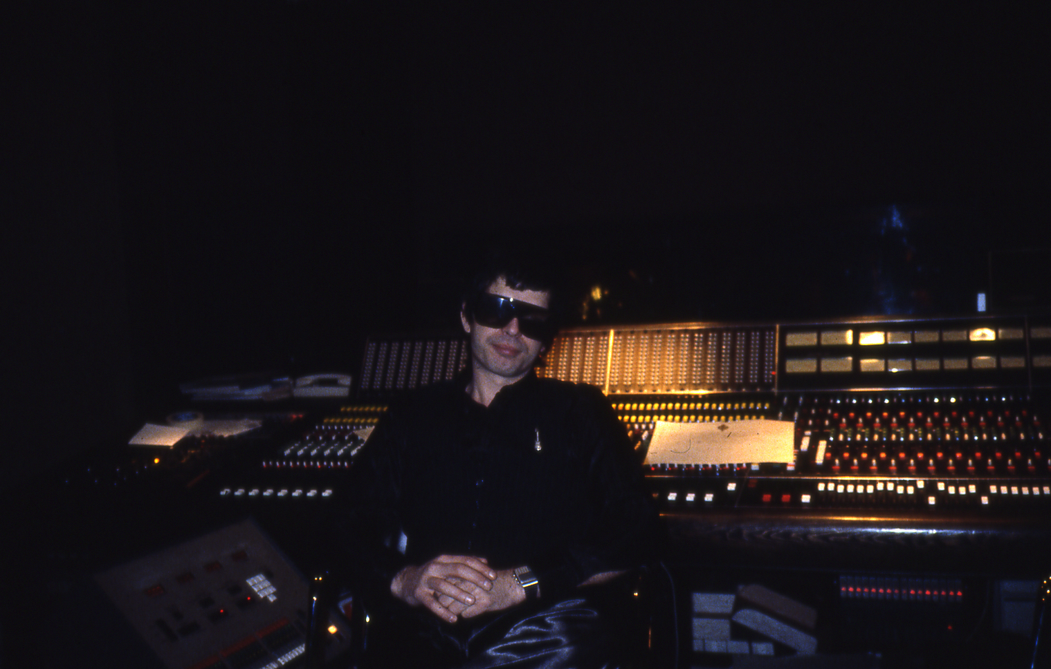 Tony Visconti in his Good Earth Recording Studios, with Trident TSM console, London, early 1980s
