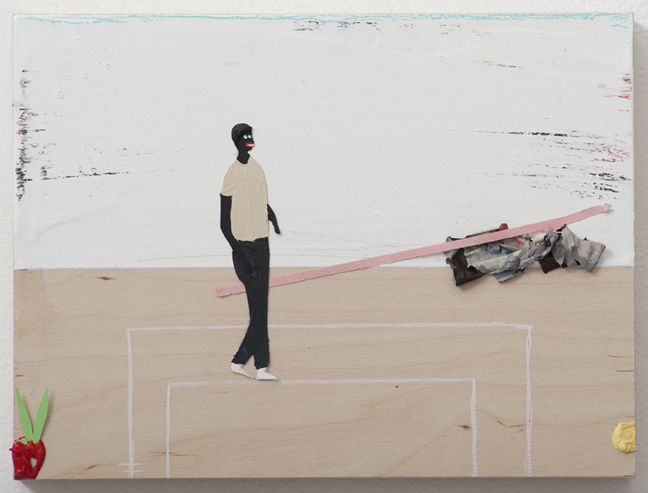 "Devin Troy Strother  A black Bruce Nauman in, ""I'm just walking that line baby"" , 2012 Mixed media on panel, 9 x 12 inches"