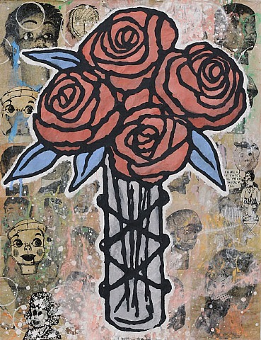 Donald Baechler  Four Roses , 2011 Gesso Flashe and paper collage on paper, 52 x 40 inches SOLD