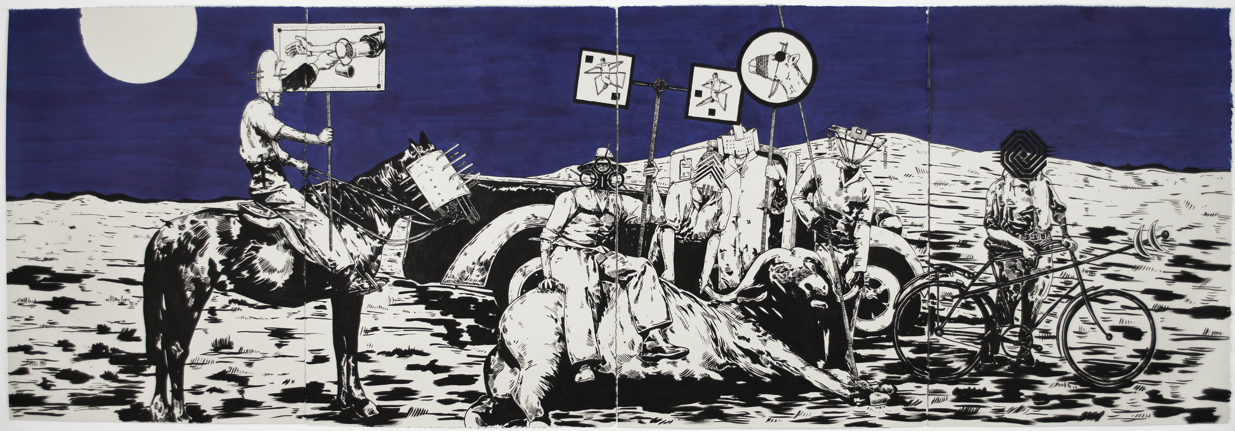 William Buchina  The Tide Has Turned #4 , 2013 India ink on paper, 30 x 88 inches (quadriptych)