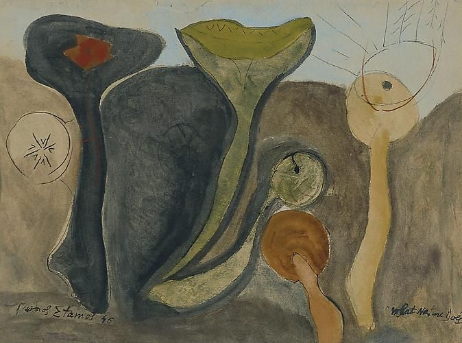 Theodoros Stamos  What Nature Does , 1946 Watercolor and ink on paper, 19 x 25 1/2 inches