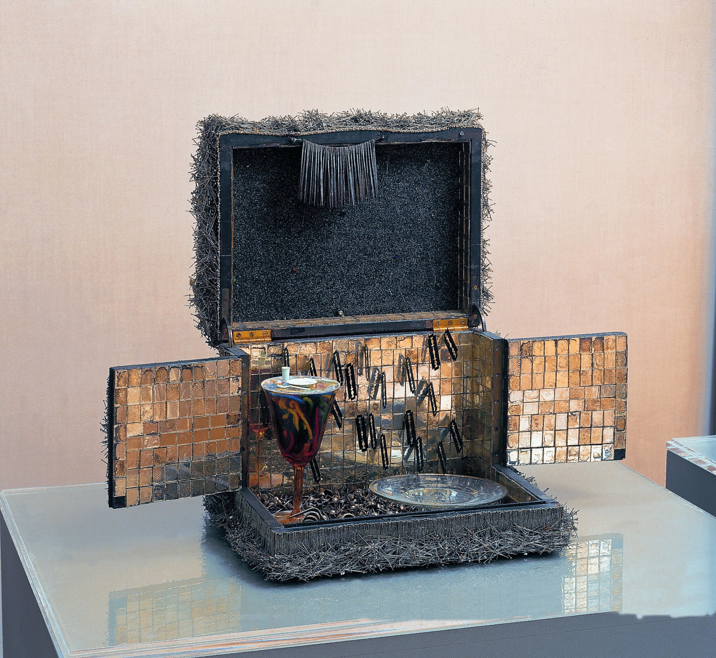 Lucas Samaras  Box #4, 1963 Mixed Media (wooden construction, steel, needles, razor blades, forks, plastic, sand, mirrors, wool) , 17 1/3 x 11 3/4 inches SOLD