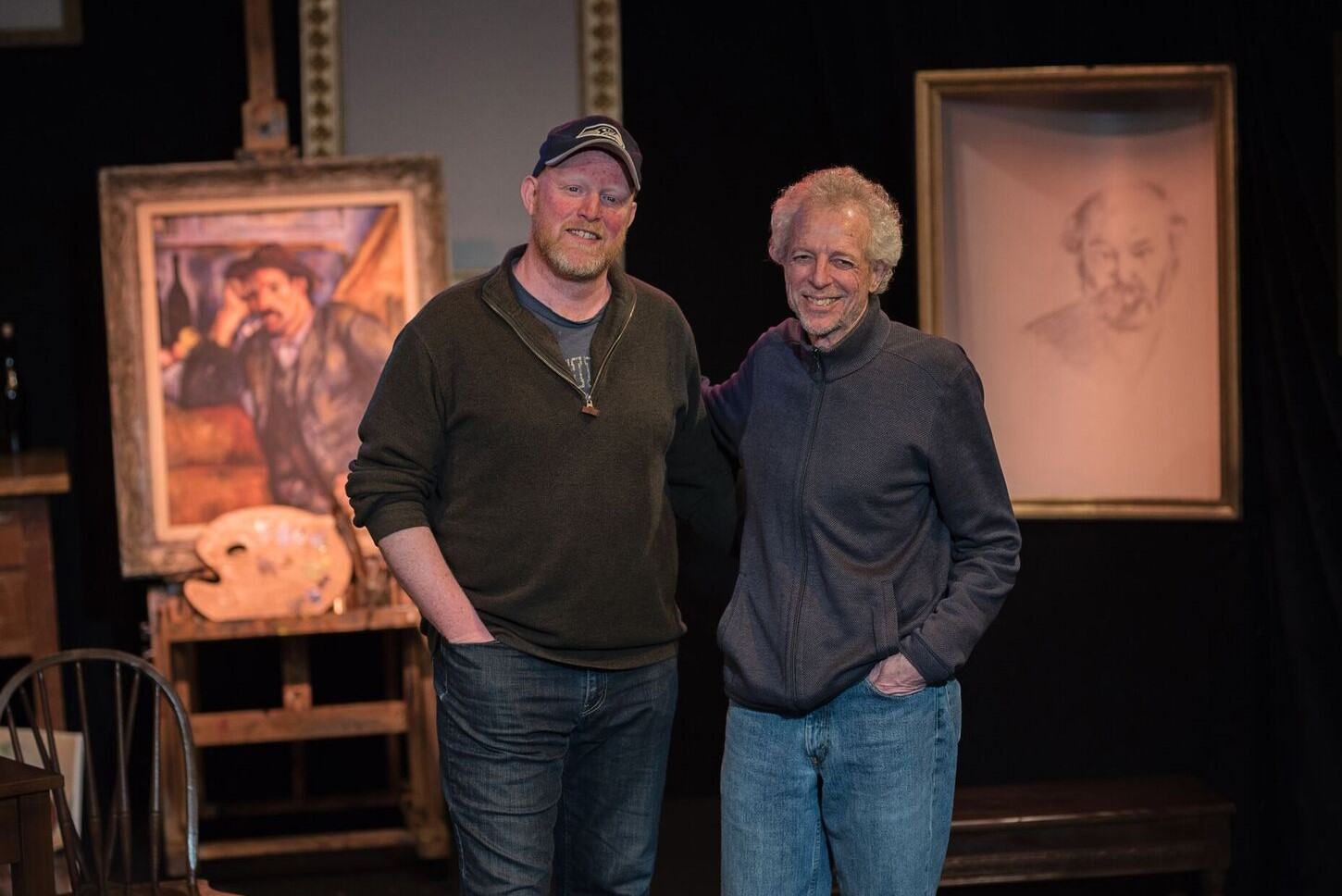 "Duane (right) with director Andy McGinn, on the set of his self-produced play ""Visiting Cezanne"""
