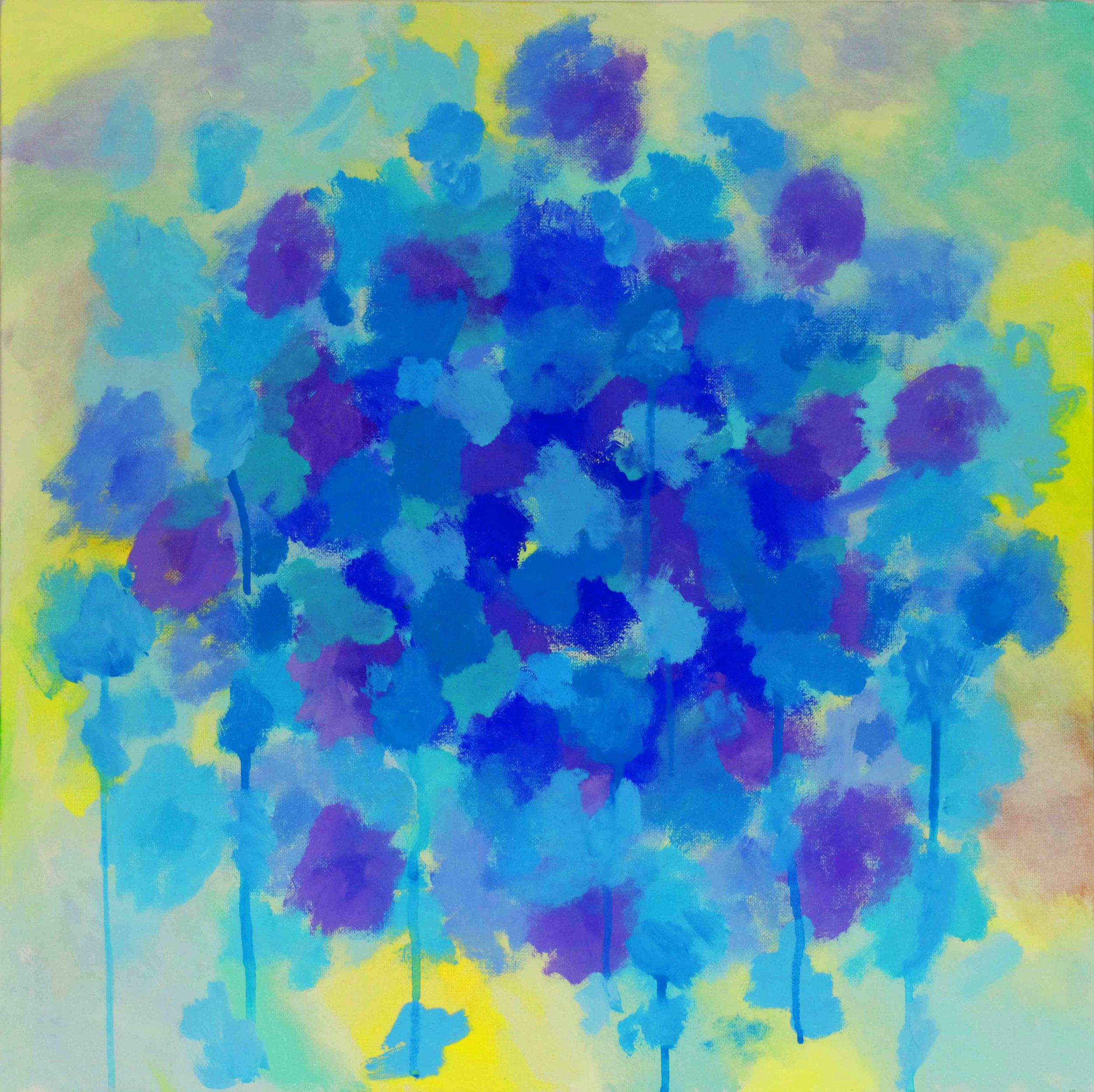 """Bouquet of Blue 24""""H x 24""""W x .75""""D"""
