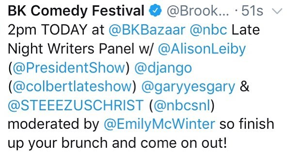Get over here to @bkbazaar now, tickets at the door! @nbcunitips @alisonleiby @presidentshow @colbertlateshow @garyyesgary @steezus_castillo @nbcsnl @emilymcwinter - - - - - - - - - - - - - - - #brooklyn #comedy #festival #bkcf #brooklyncomedy #brooklyncomedyfestival #brooklyncomedyfest #bkcf2018 #standupcomedy #podcasts #film #sketchcomedy #improv #comedians #comic #comics