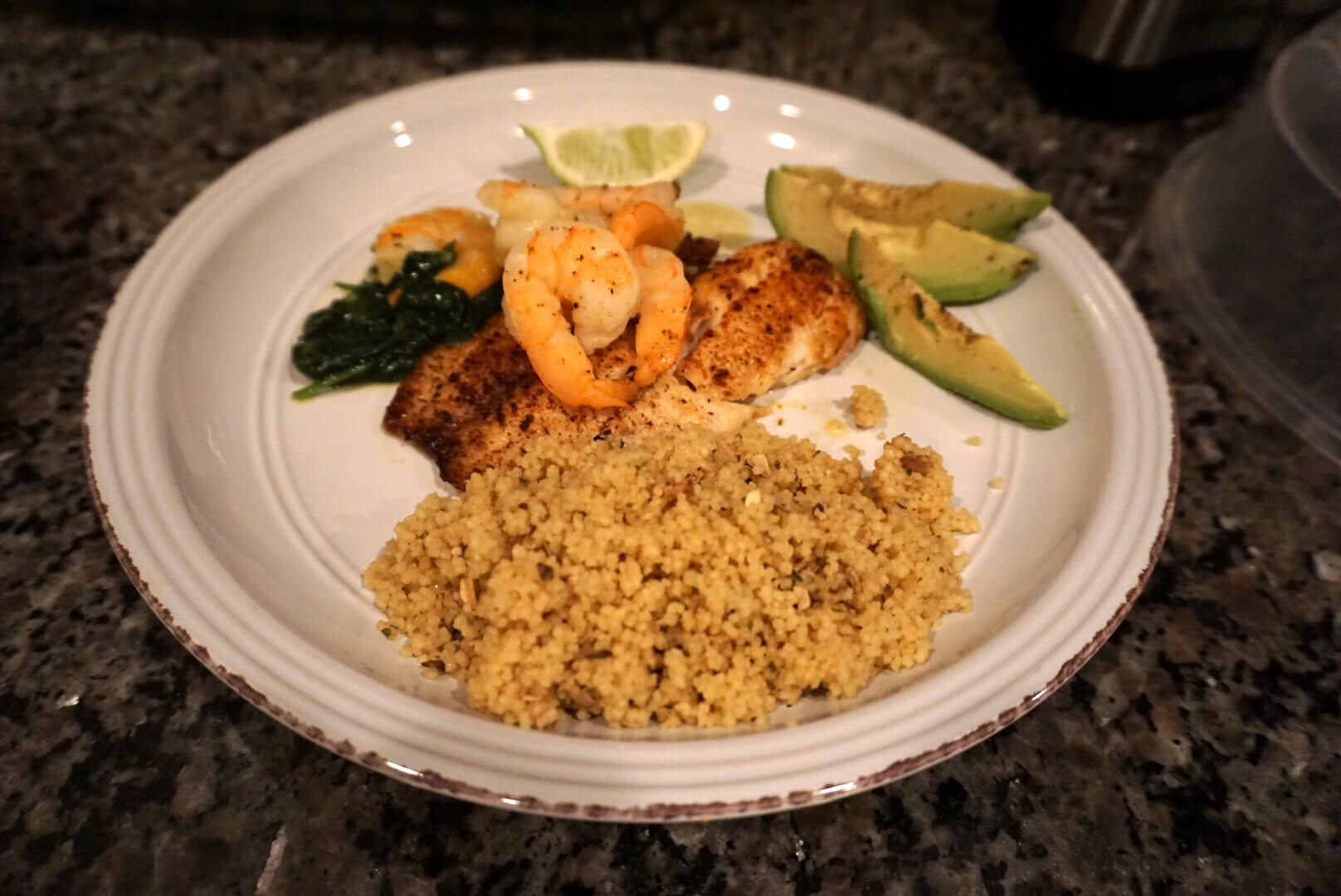 Tilapia + Shrimp with Spinach and Quinoa