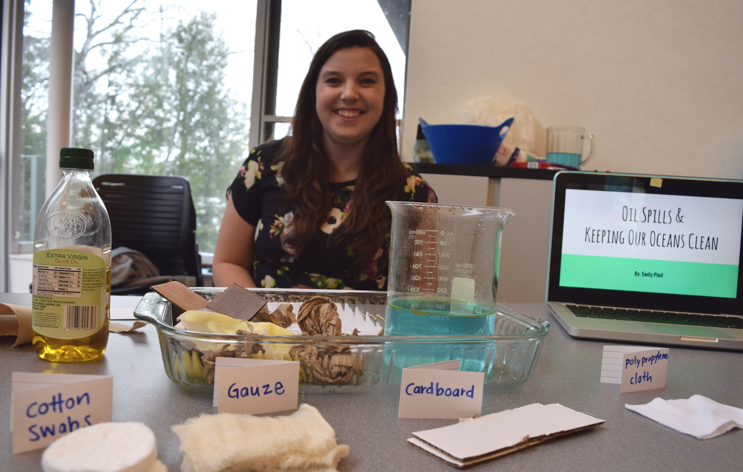 Science student Emily ('17) presents her project at the Science Cafe event