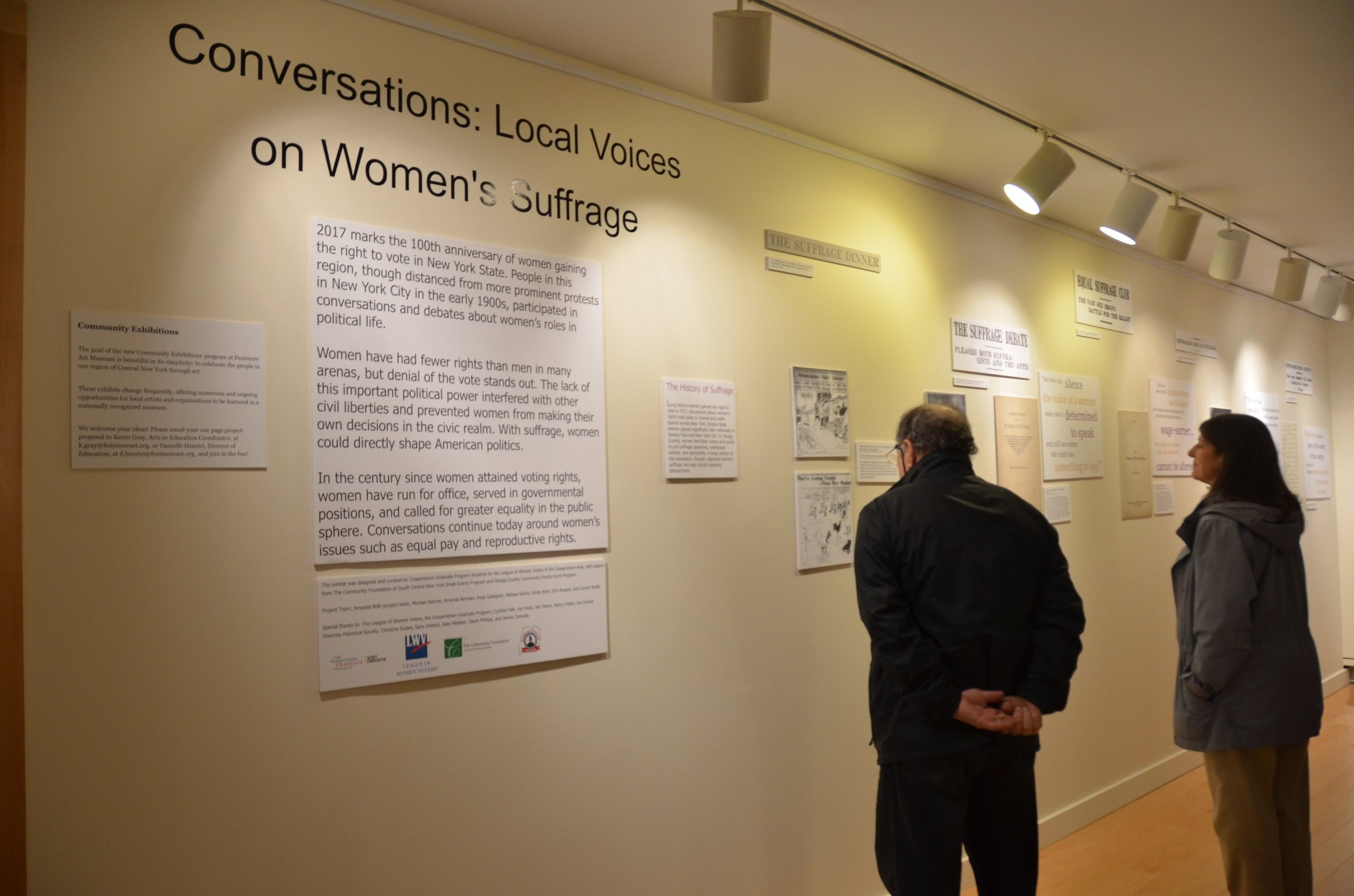 The exhibit on Women's Suffrage created by students in the Cooperstown Graduate Program.