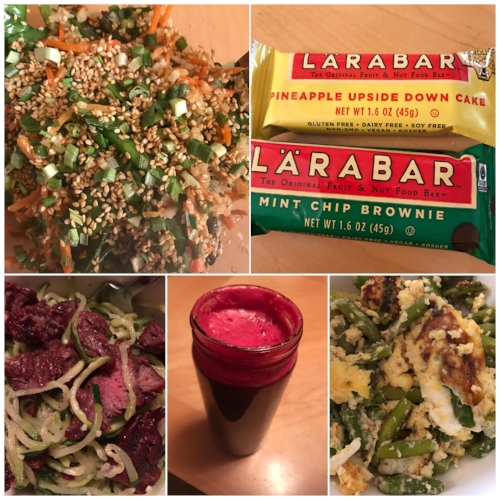 April food - top left to bottom right: cauliflower rice stir fry, new Lara bars (only pineapple upside down cake is Whole 30 approved, steak and zoodles, beet/cucumber/apple/orange juice from Pressed and a veggie egg scramble.