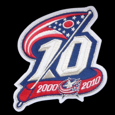 WANTED - Blue Jackets 10th anniversary patch worn during the 2010-11 season