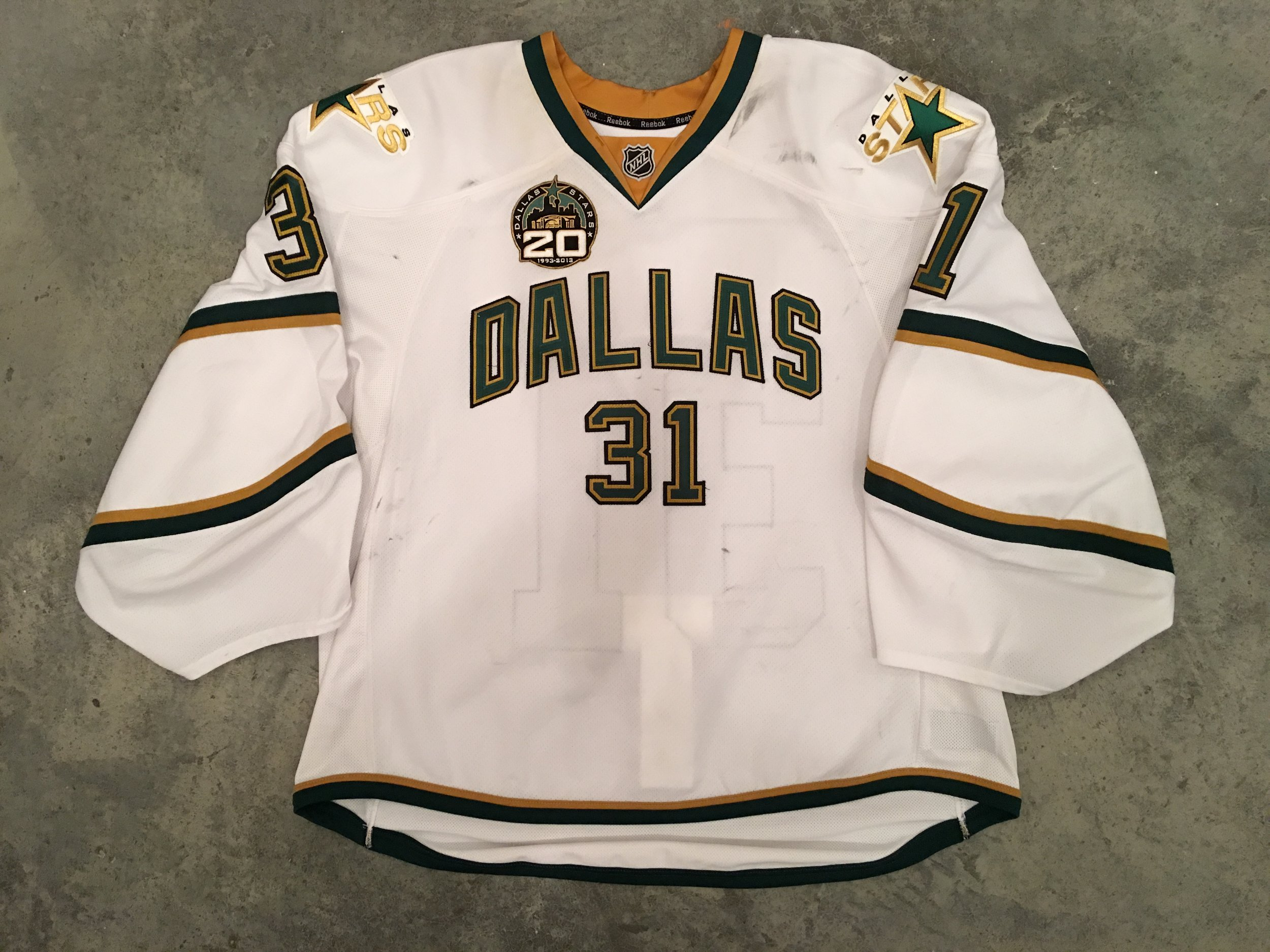 2013-14 Richard Bachman game worn road jersey with the Stars 20th anniversary patch