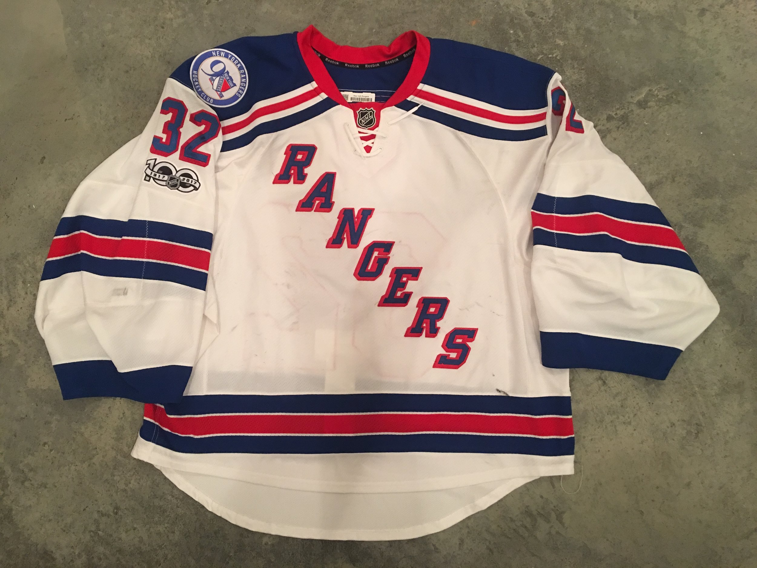 2016-17 Aanti Raanta game worn road jersey with the Rangers 90th anniversary and the NHL Centennial patches.