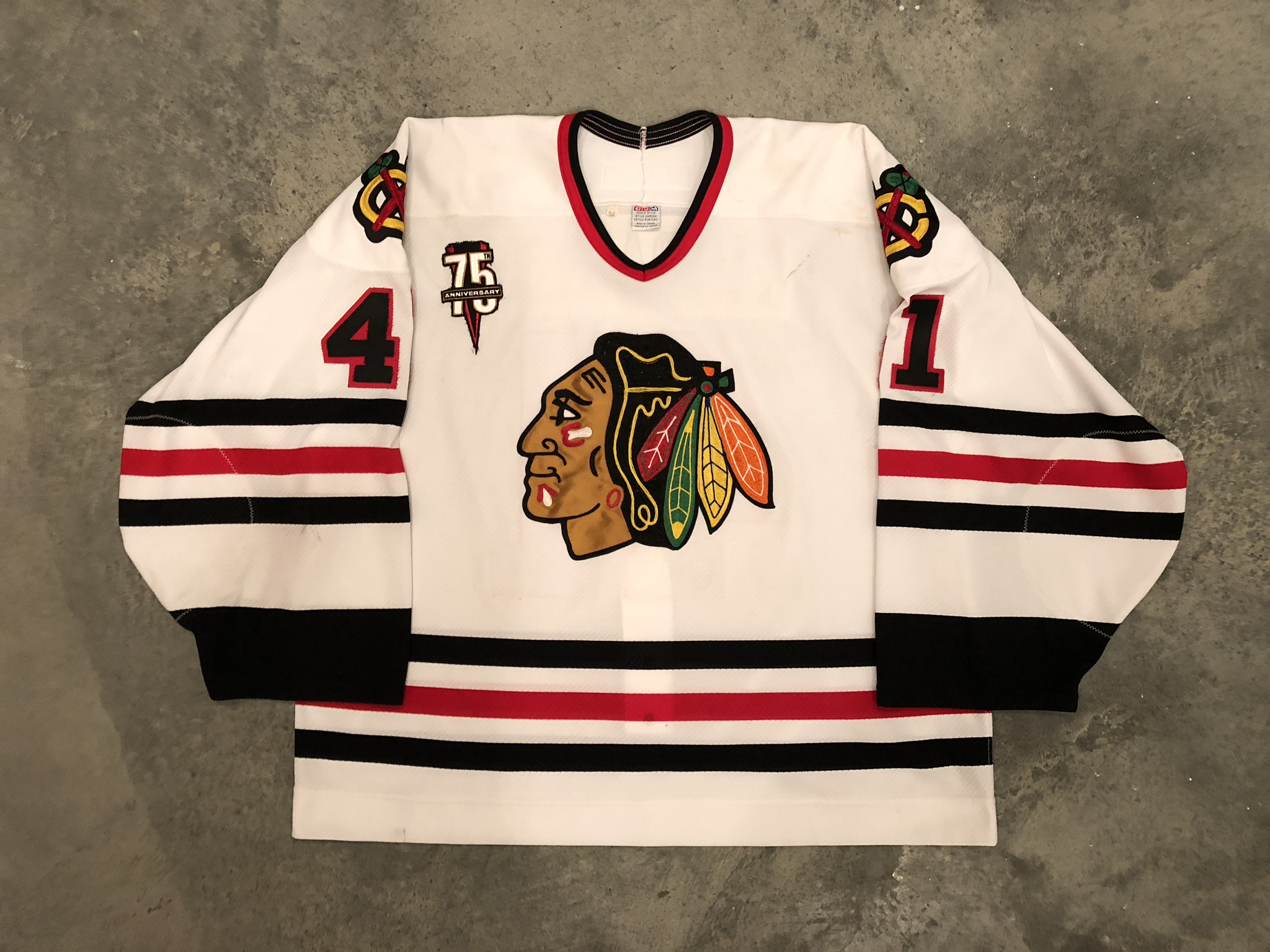 2001-02 Jocelyn Thibault game worn home jersey with Blackhawks 75th anniversary patch