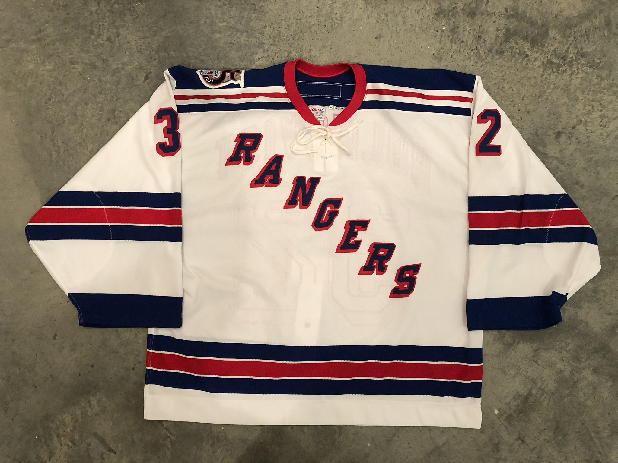 2000-01 Johan Holmqvist game worn home jersey with the Ragners 75th anniversary patch