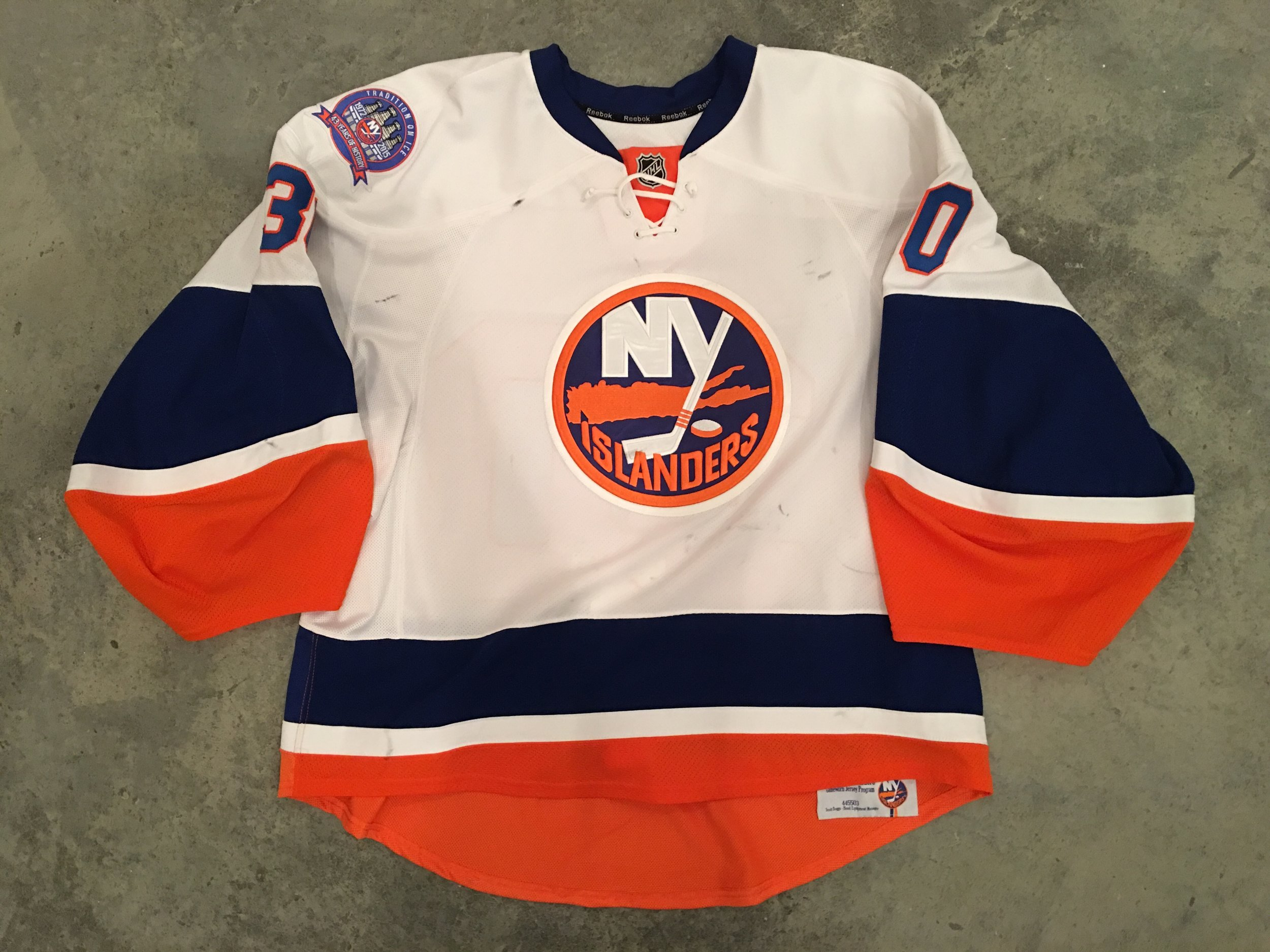 2014-15 Chad Johnson game worn road jersey with Islanders Tradition on Ice patch
