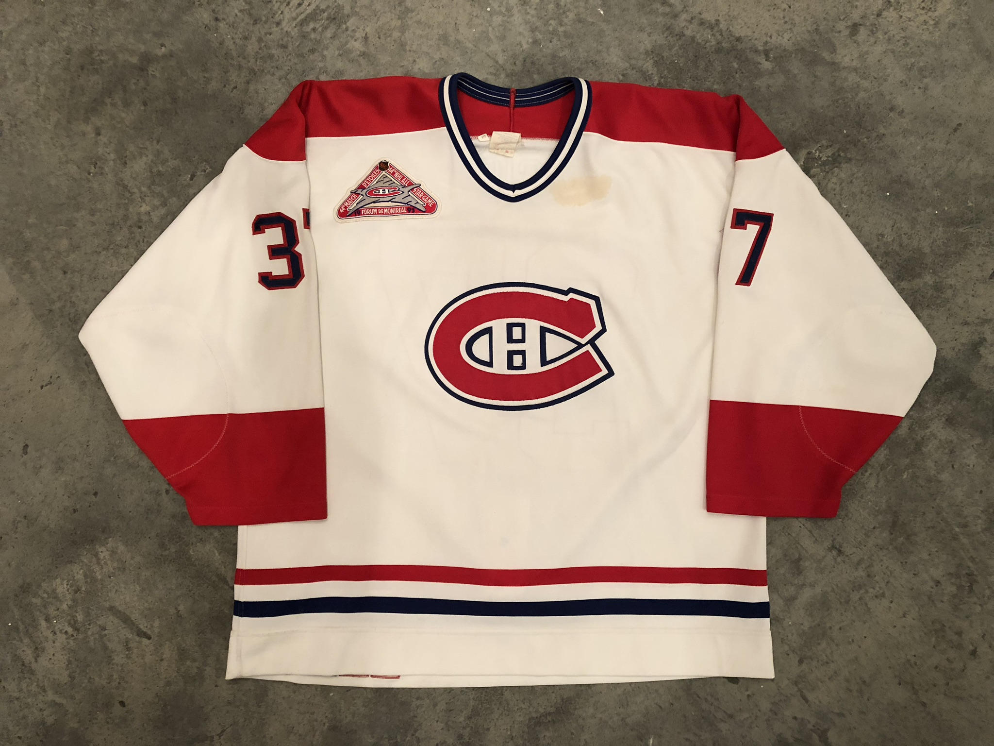 1992-93 Andre Racicot game worn home jersey with the 1993 NHL All Star Game patch